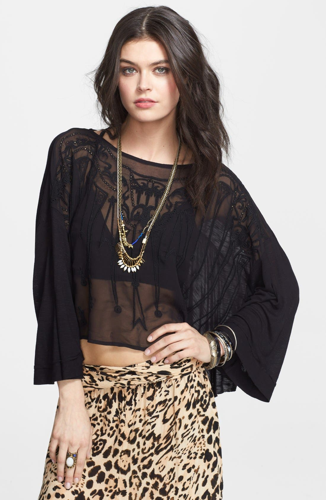 Main Image - Free People 'Pandora's' Embroidered Front Top