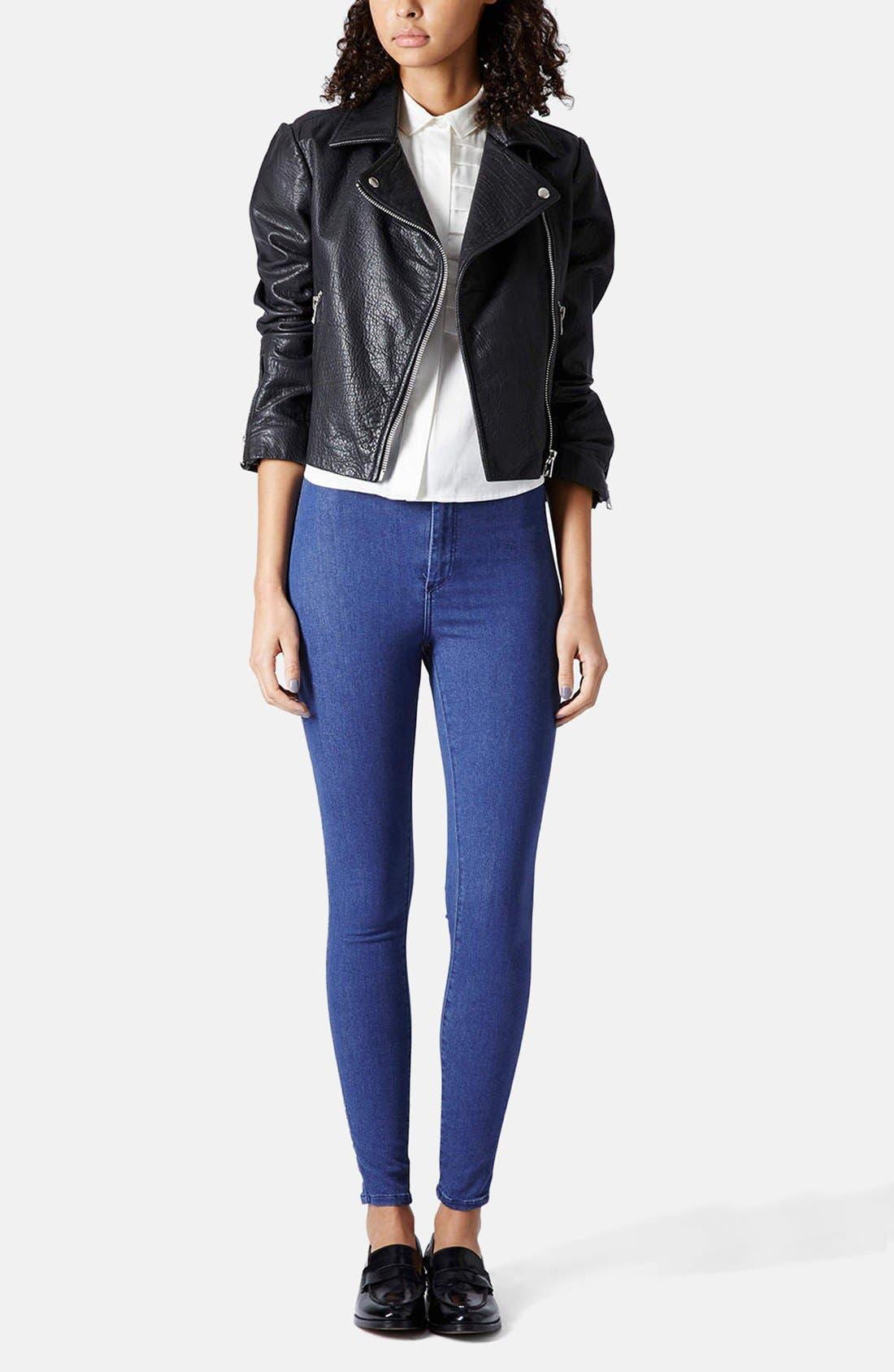 Alternate Image 5  - Topshop Moto 'Joni' High Rise Skinny Jeans (Regular, Short & Long) (Blue)