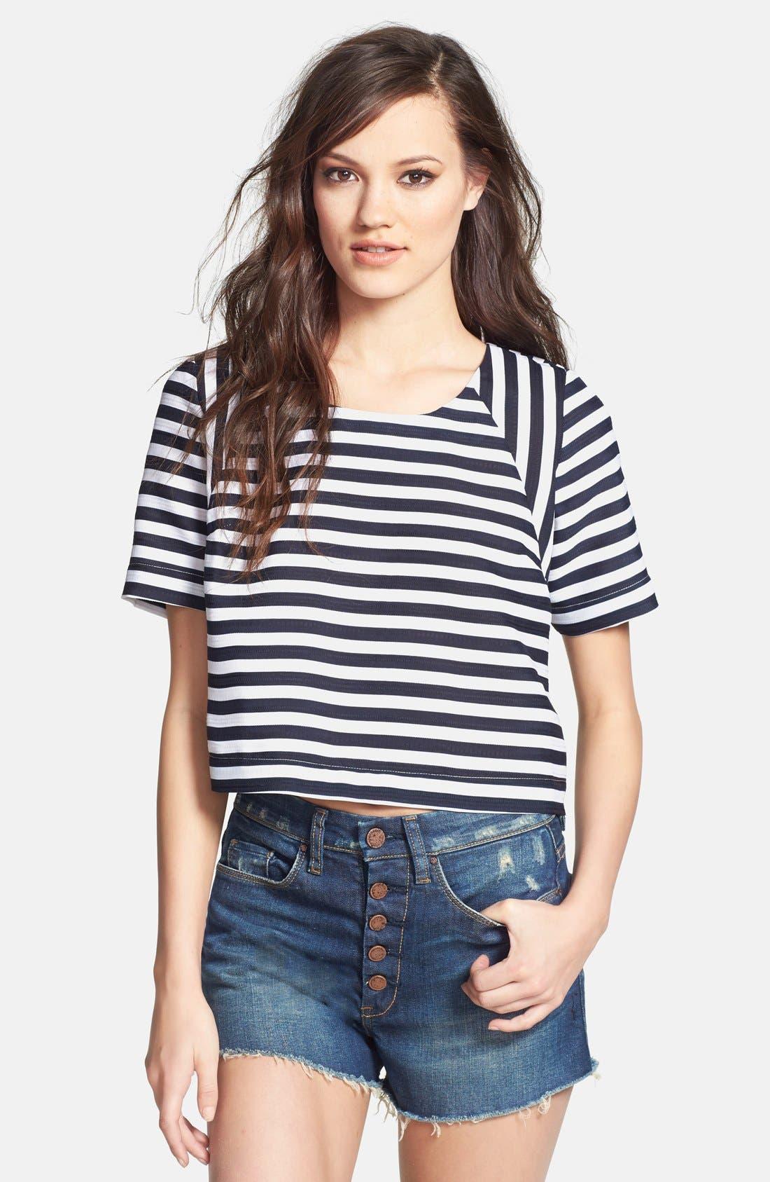 Alternate Image 1 Selected - JOA Stripe Jacquard Crop Top