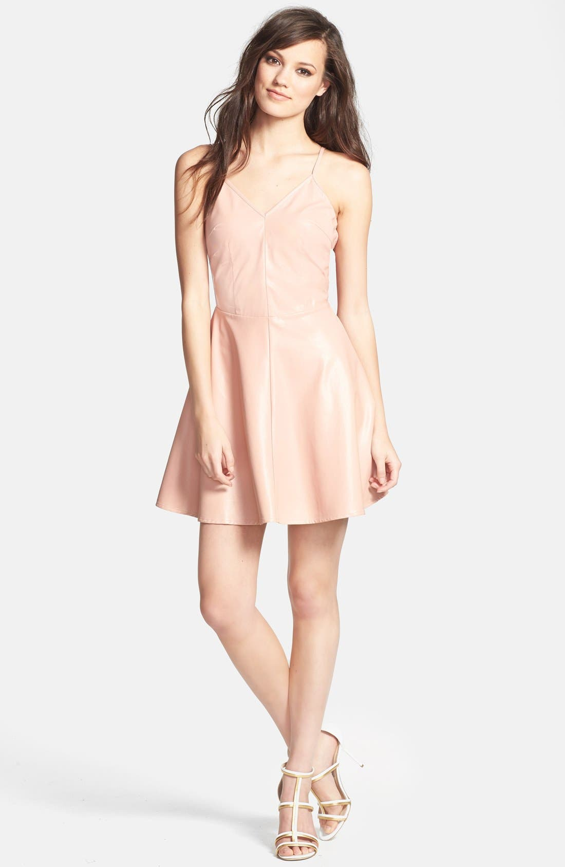 Alternate Image 1 Selected - Glamorous V-Back Faux Leather Skater Dress