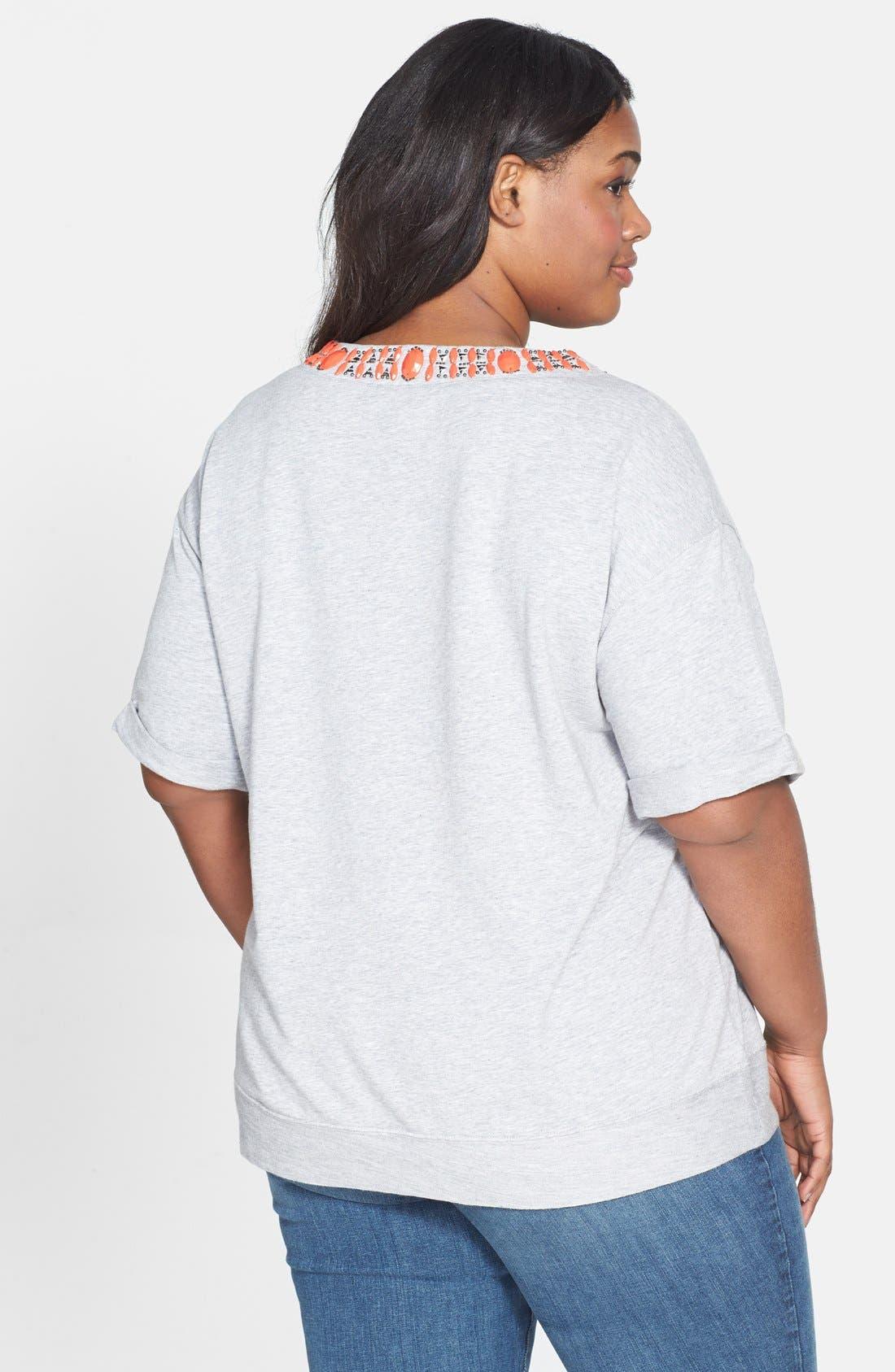 Alternate Image 2  - Halogen® Embellished Sweatshirt (Plus Size)