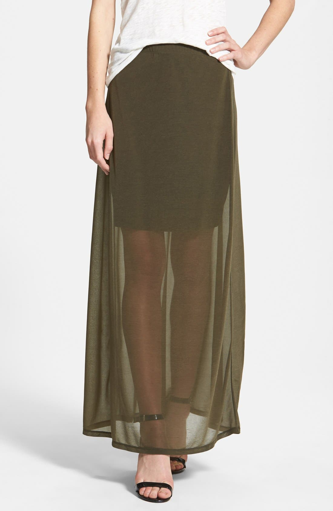 Main Image - Halogen® Sheer Overlay Maxi Skirt (Regular & Petite)