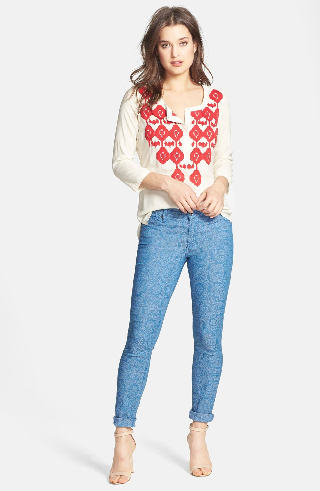 Alternate Image 4  - 7 For All Mankind® 'The Skinny' Print Jeans (Moroccan Blue)