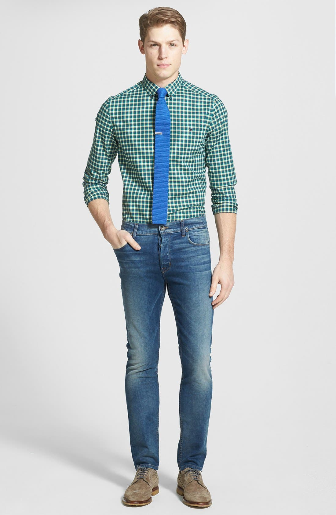 Alternate Image 4  - Kenneth Cole Collection Check Print Sport Shirt