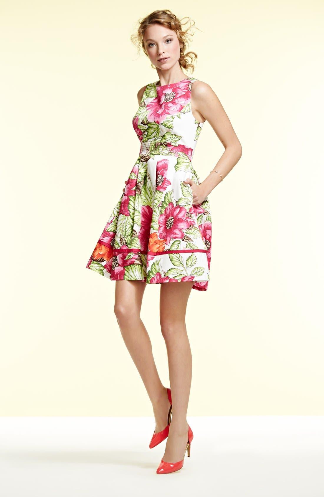 Alternate Image 5  - Eliza J Floral Print Cotton Sateen Fit & Flare Dress
