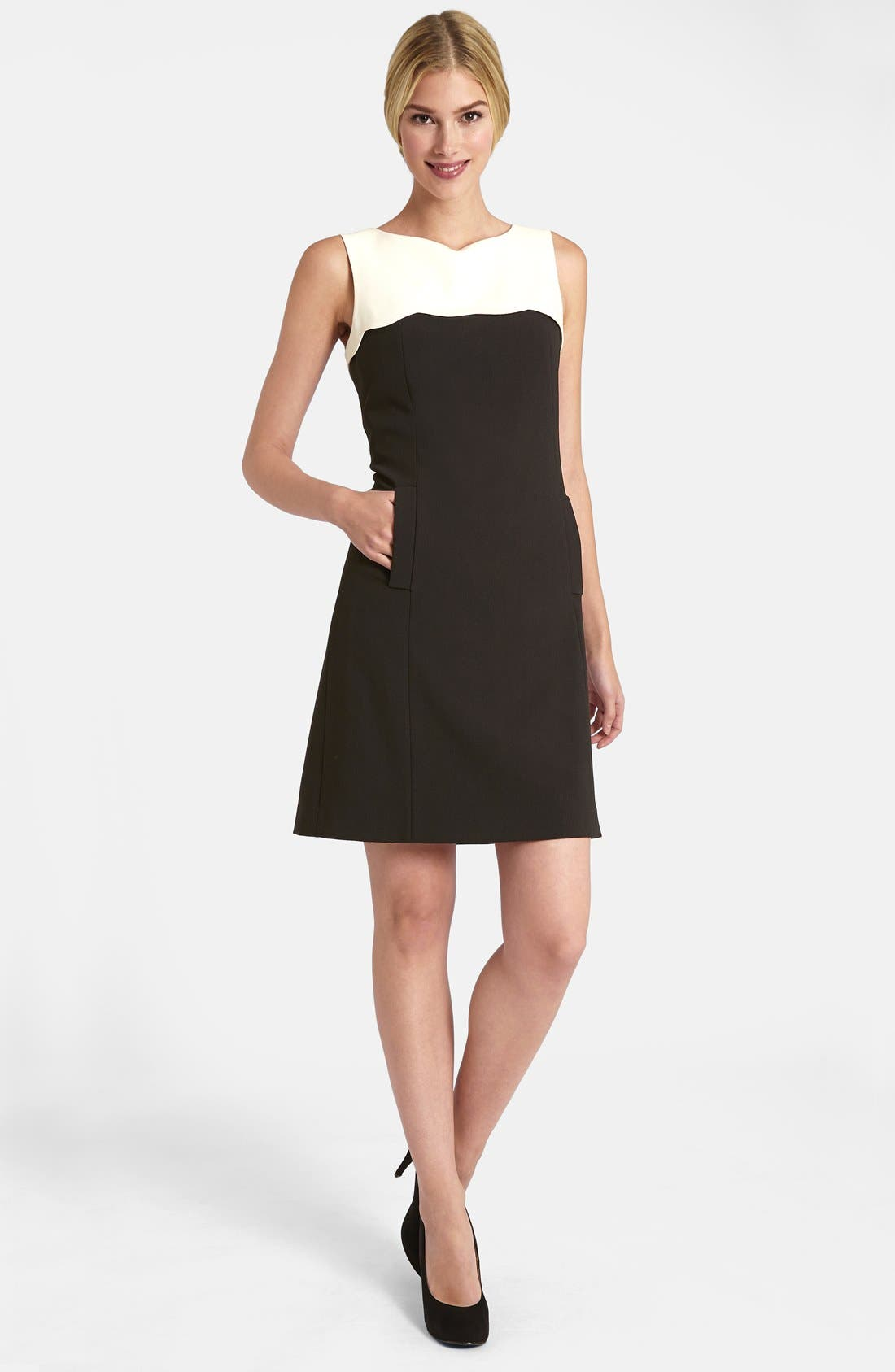 Alternate Image 1 Selected - Tahari Scalloped Yoke Stretch Crepe Dress (Petite)