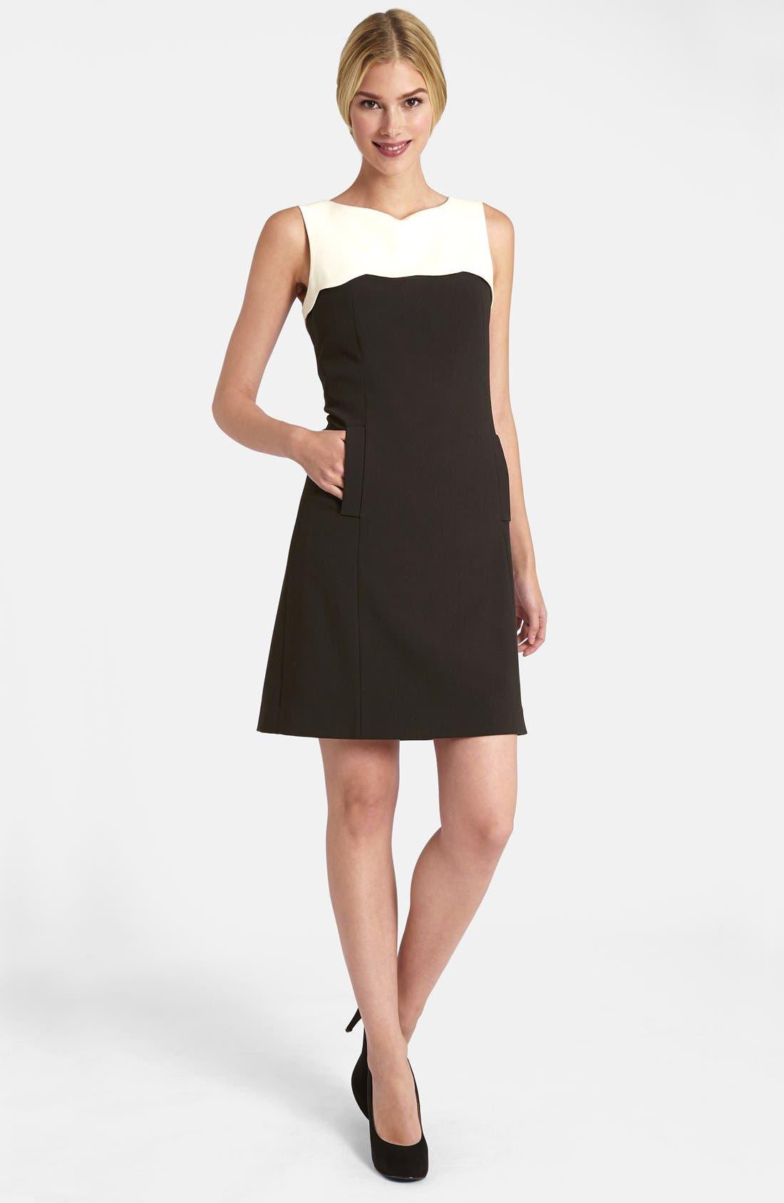 Main Image - Tahari Scalloped Yoke Stretch Crepe Dress (Petite)