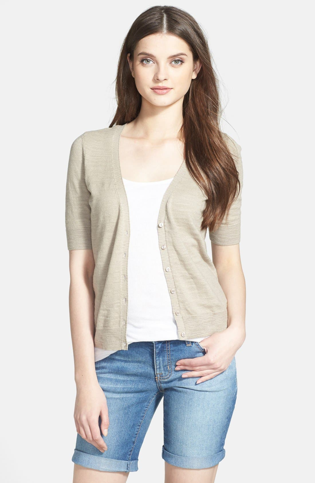 Alternate Image 1 Selected - Caslon® V-Neck Elbow Sleeve Cardigan (Regular & Petite)