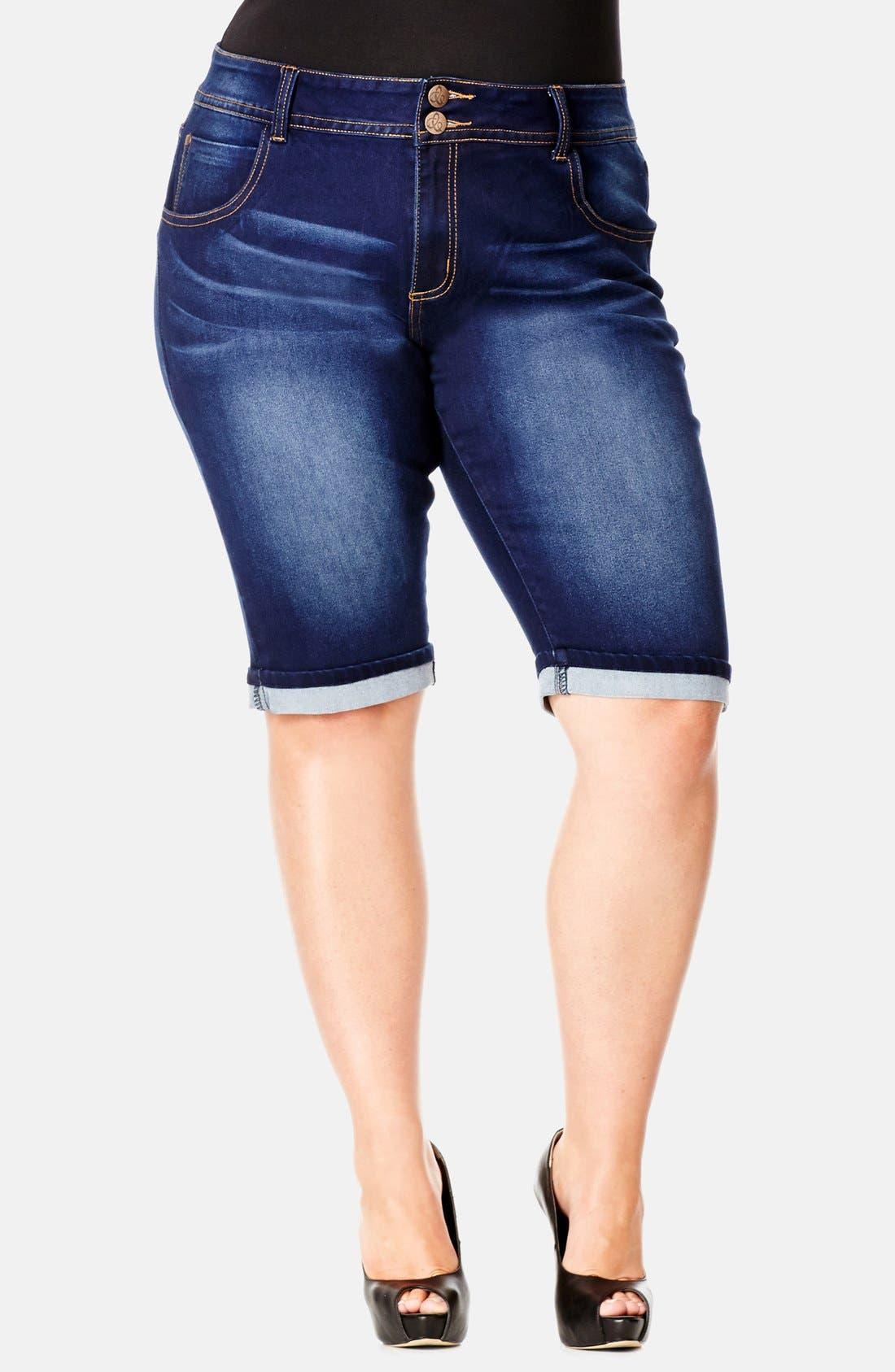 Main Image - City Chic Denim Bermuda Shorts (Plus Size)