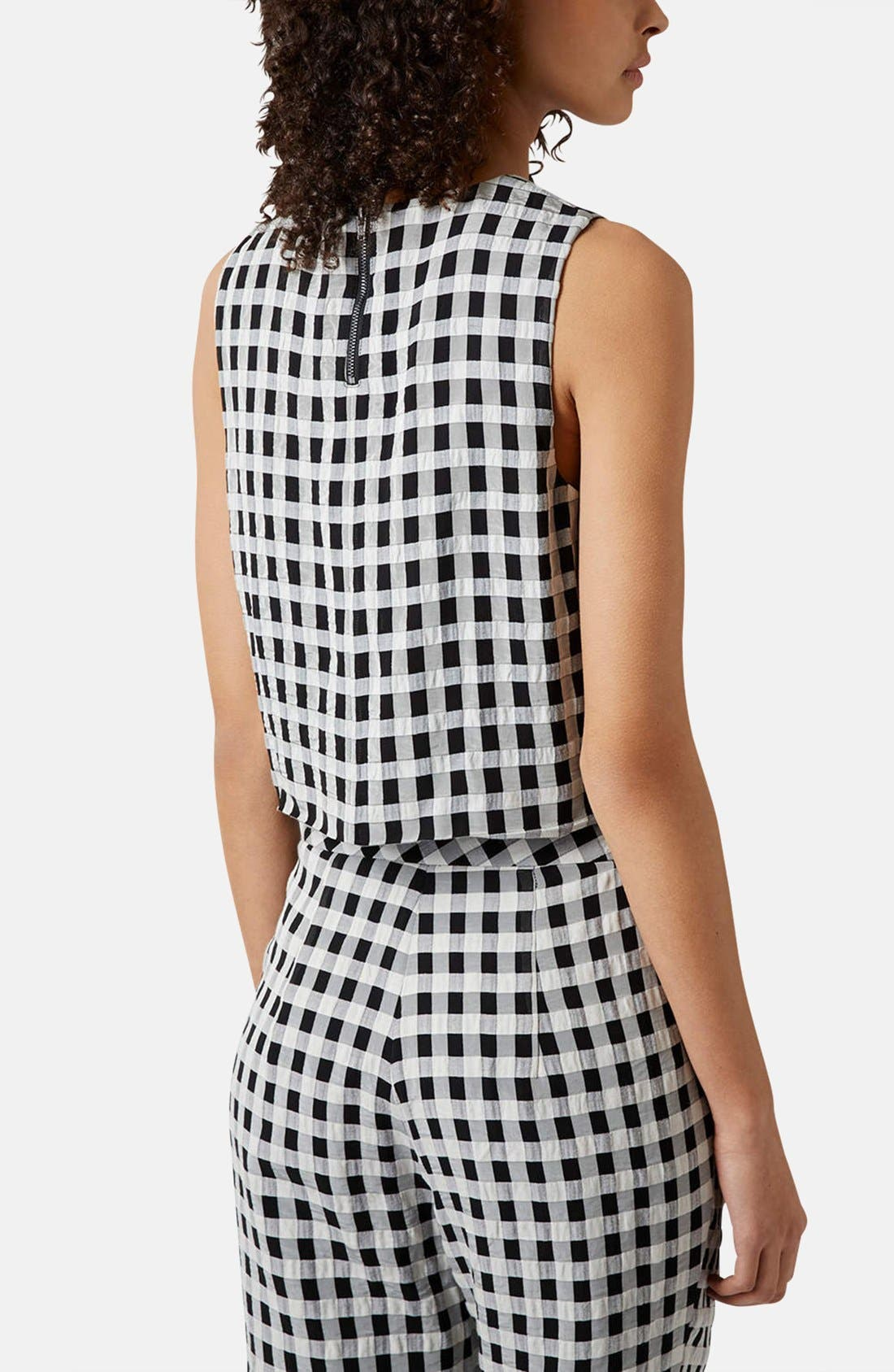 Alternate Image 2  - Topshop Textured Gingham Shell