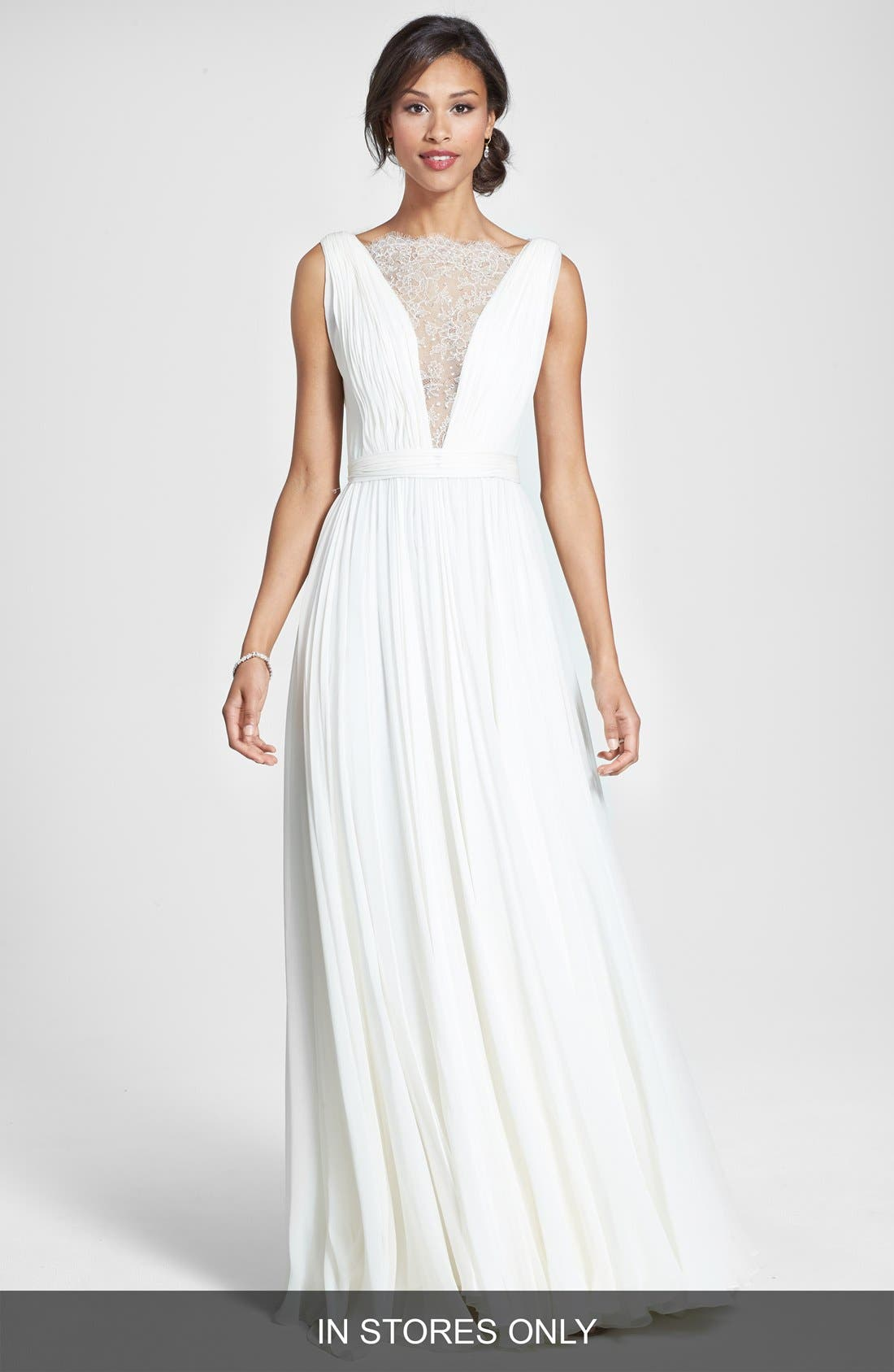 Main Image - Roses by Reem Acra 'Wisteria' Lace Inset Draped Silk Georgette Dress (In Stores Only)