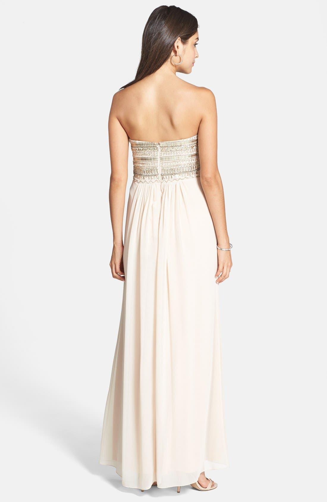 Alternate Image 2  - Aidan Mattox Embellished Bodice Strapless Gown