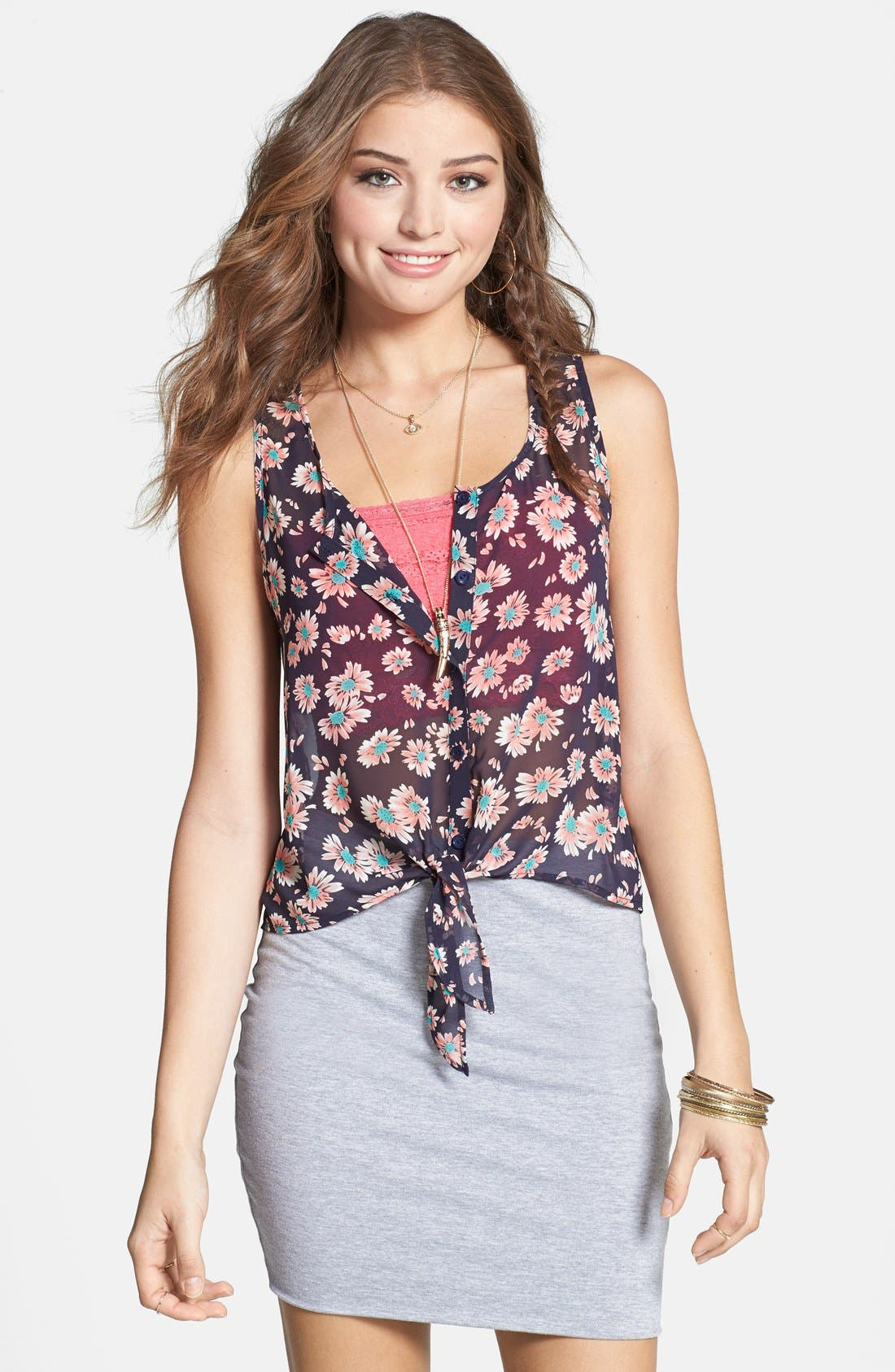 Alternate Image 1 Selected - Lush Tie Front Woven Tank (Juniors)