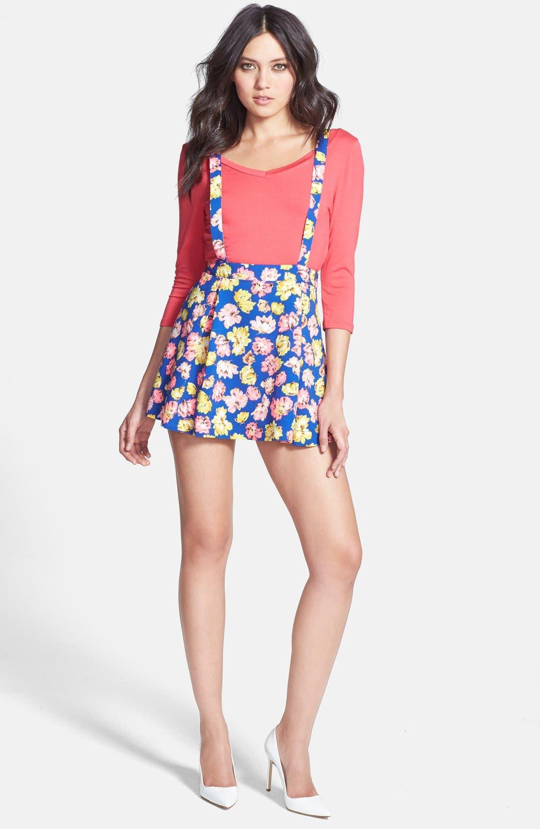 Alternate Image 1 Selected - JOA Floral Pinafore Dress
