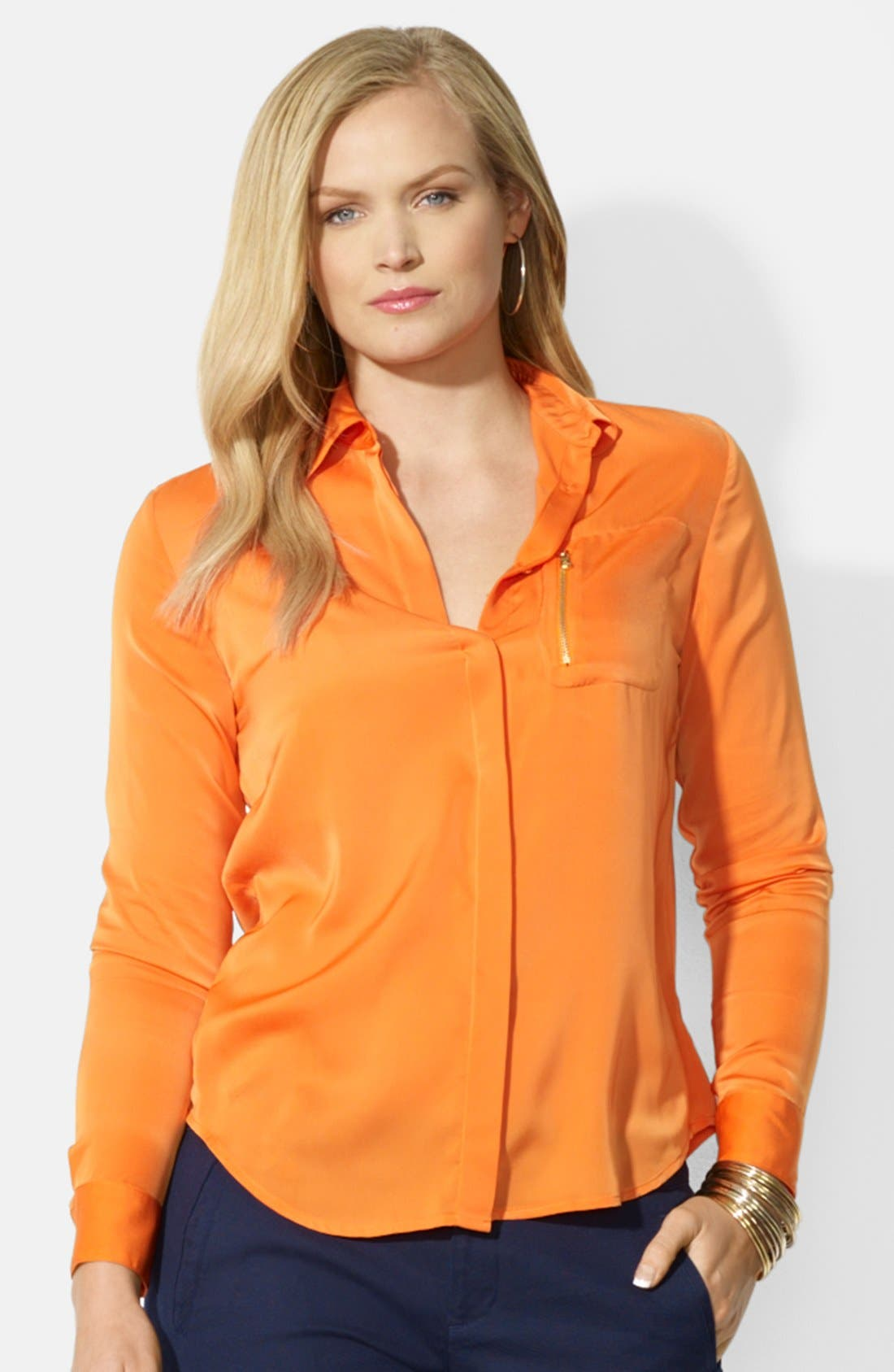 Alternate Image 1 Selected - Lauren Ralph Lauren Zip Pocket Blouse (Plus Size)