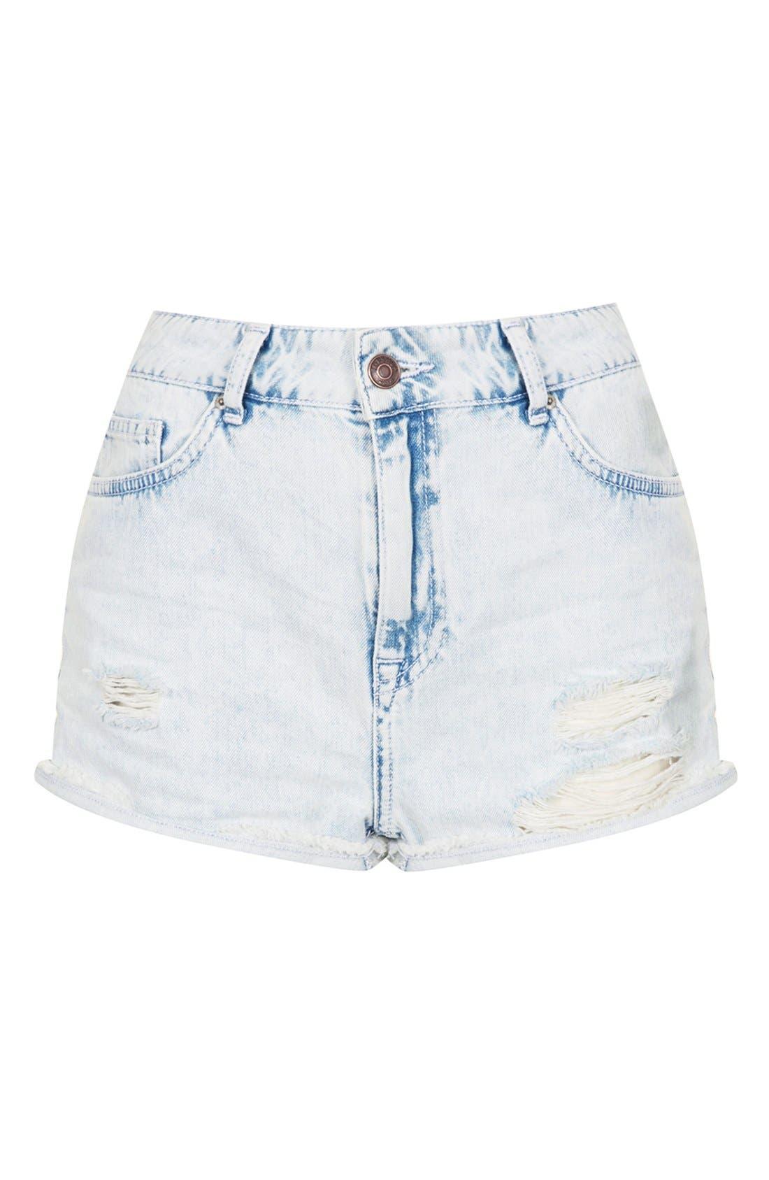 Alternate Image 3  - Topshop Moto 'Hallie' Destroyed Bleached Denim Shorts