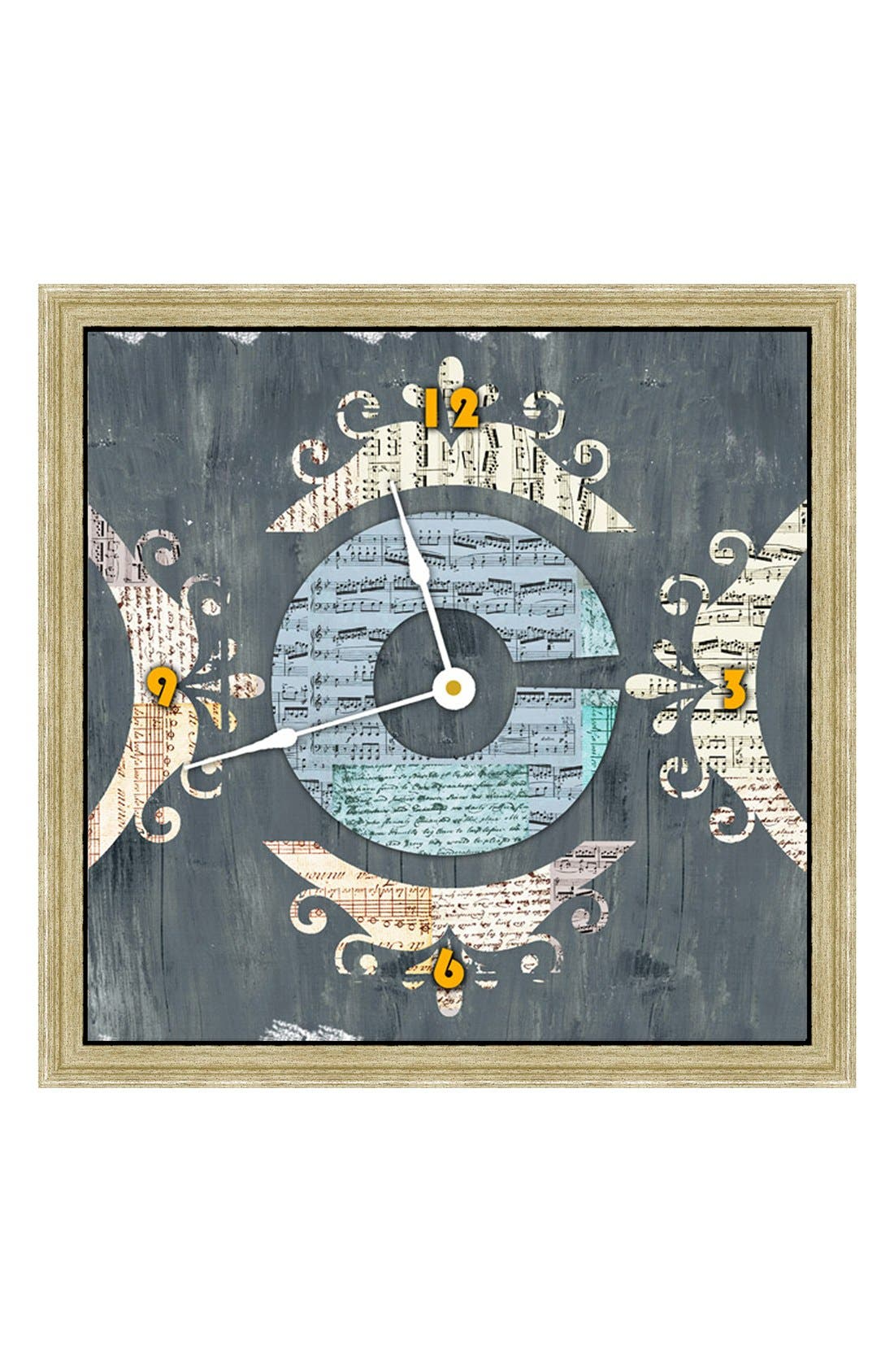 Main Image - Green Leaf Art 'Letter Texture' Clock