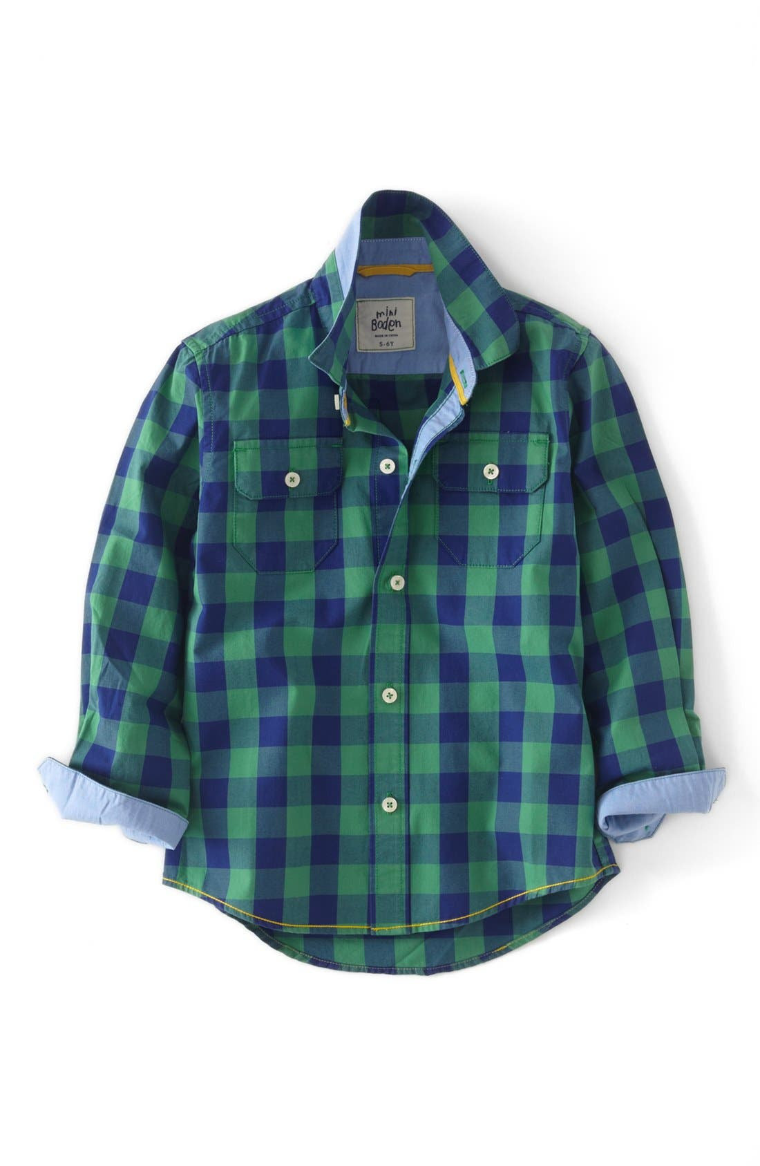 Main Image - Mini Boden Long Sleeve Sport Shirt (Toddler Boys, Little Boys & Big Boys)