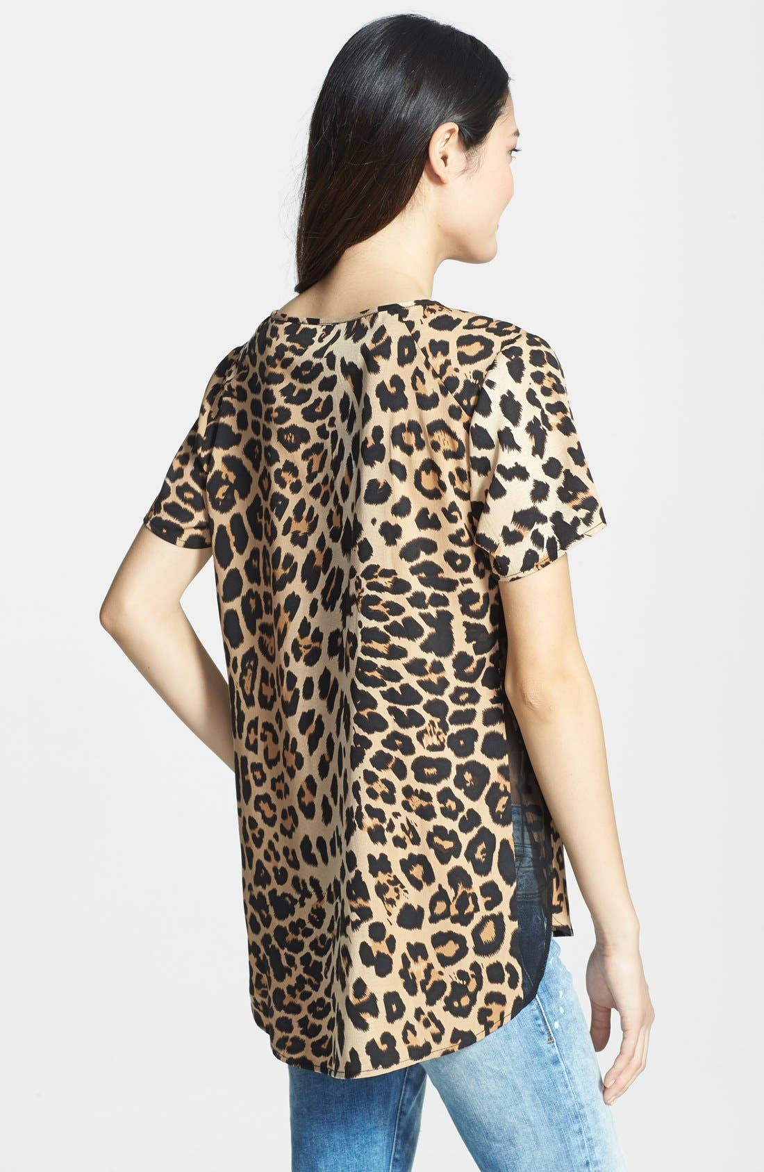 Alternate Image 2  - RD Style Leopard Print Woven Shirttail Tee