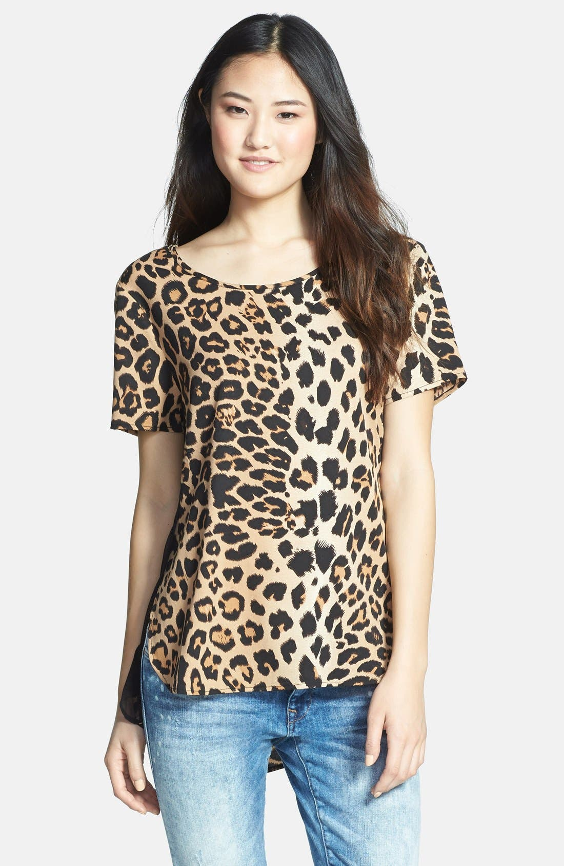 Alternate Image 1 Selected - RD Style Leopard Print Woven Shirttail Tee