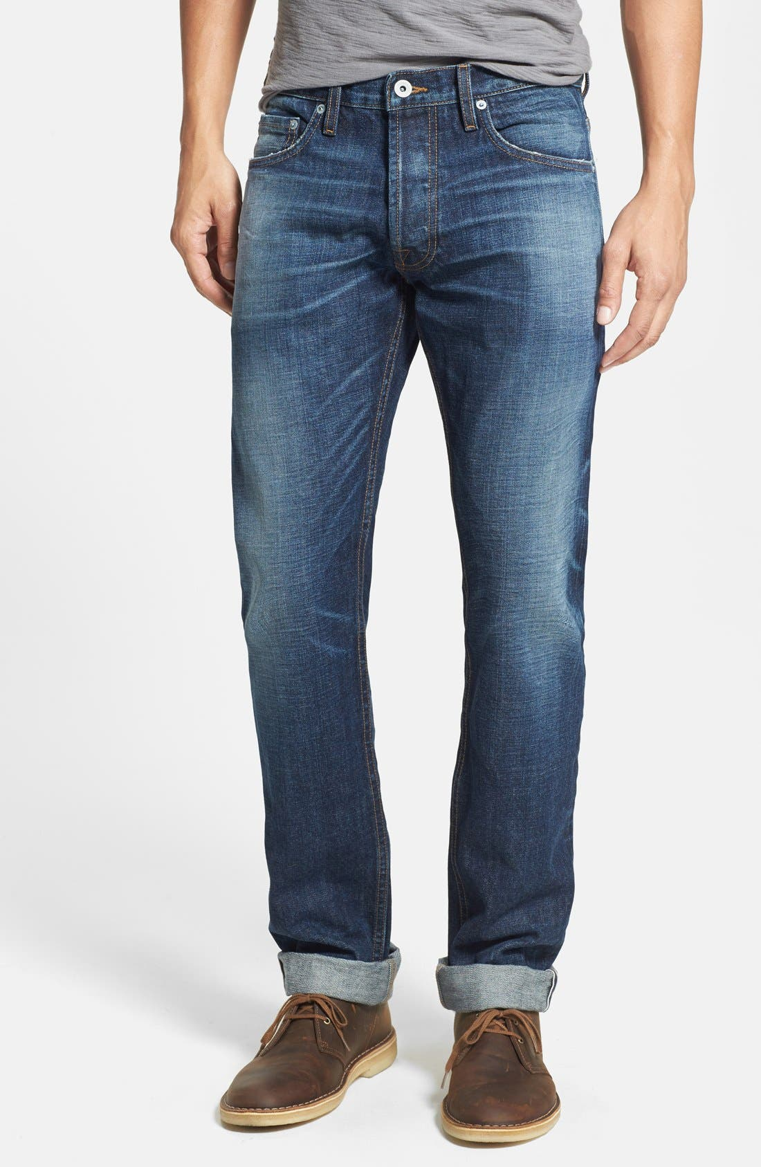 Alternate Image 1 Selected - Baldwin 'Reed' Straight Leg Selvedge Jeans (Classic No. 5)