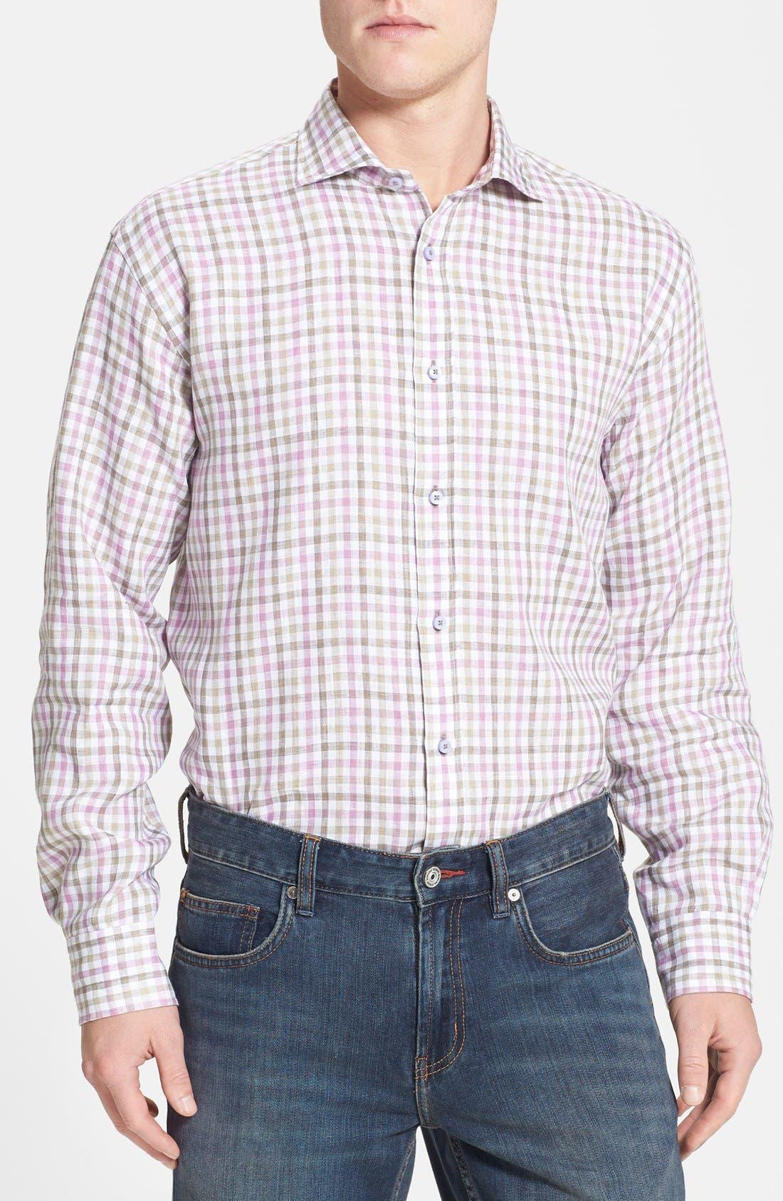 Main Image - Thomas Dean Regular Fit Linen Sport Shirt
