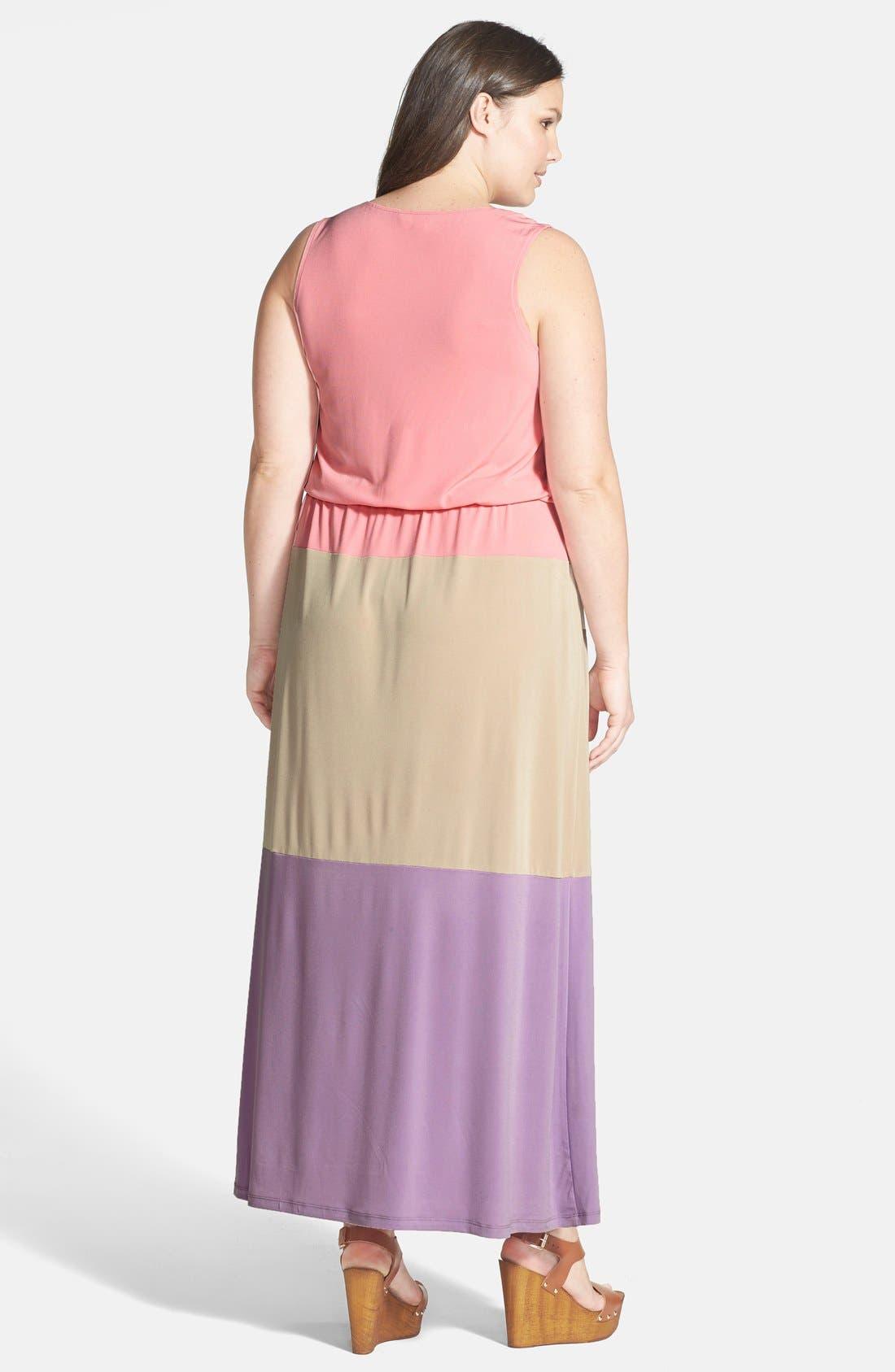 Alternate Image 2  - London Times Colorblock Print Matte Jersey Maxi Dress (Plus Size)