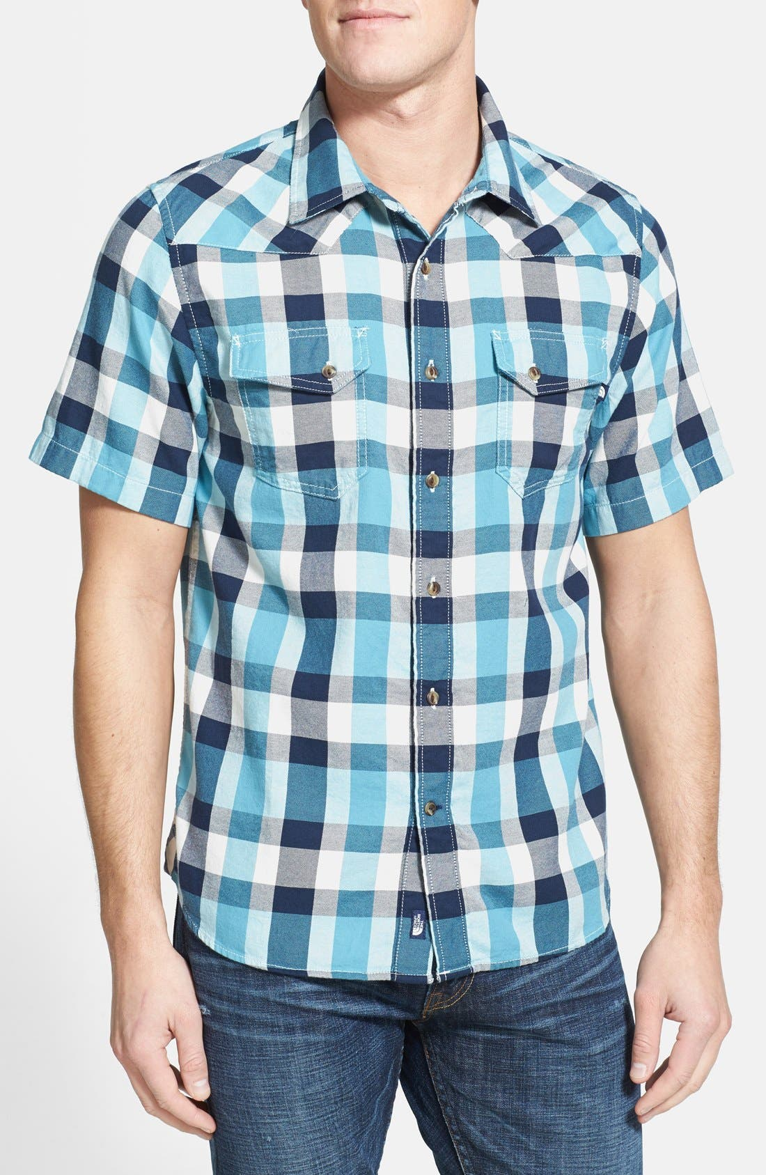 Alternate Image 1 Selected - The North Face 'Gardello' Slim Fit Short Sleeve Check Sport Shirt