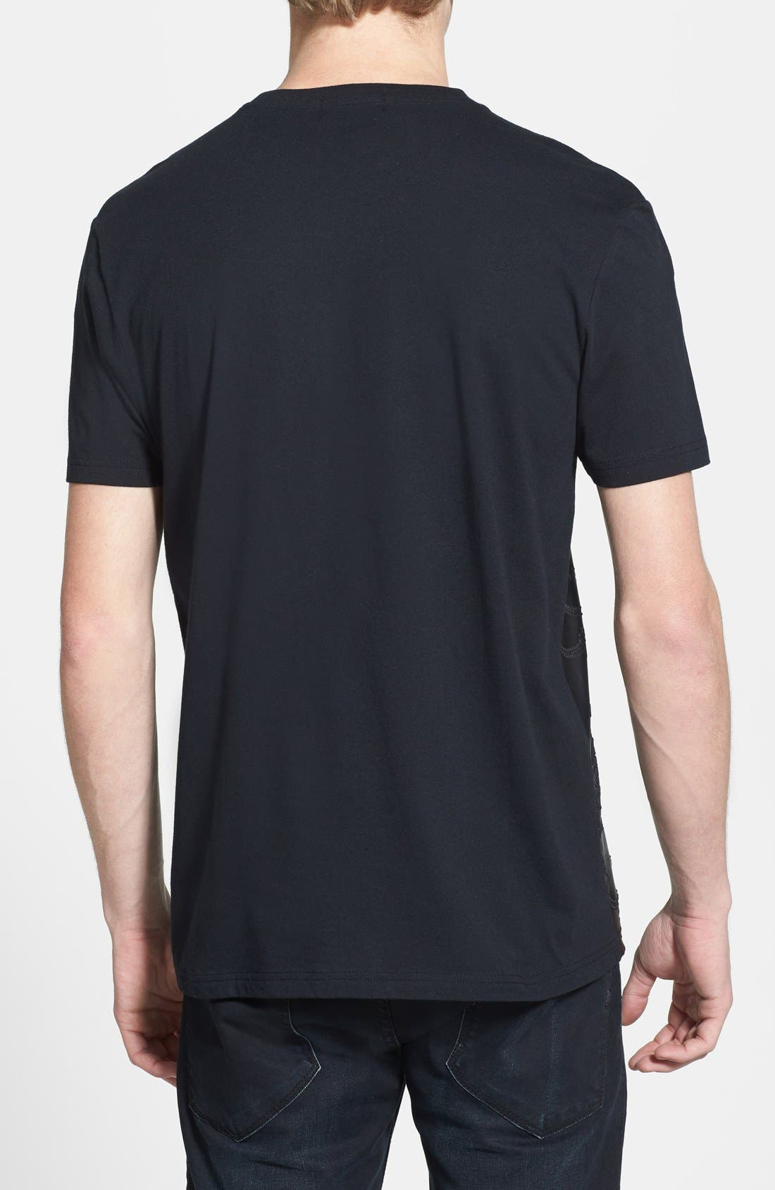 Alternate Image 2  - Topman Embossed Faux Leather Panel Crewneck T-Shirt
