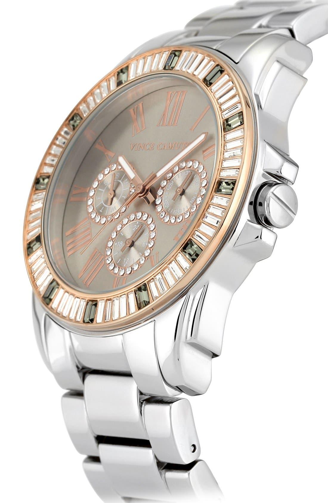Alternate Image 3  - Vince Camuto Crystal Bezel Multifunction Bracelet Watch, 43mm
