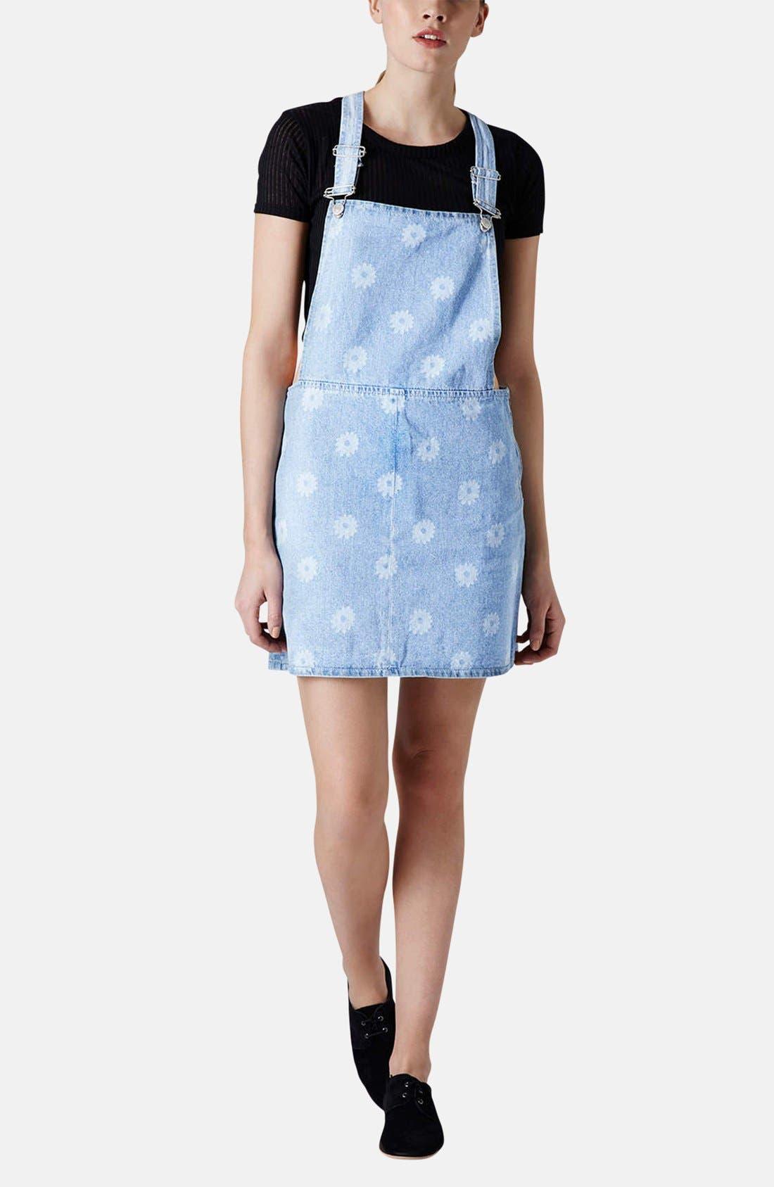 Alternate Image 5  - Topshop Moto Daisy Print Denim Pinafore Dress