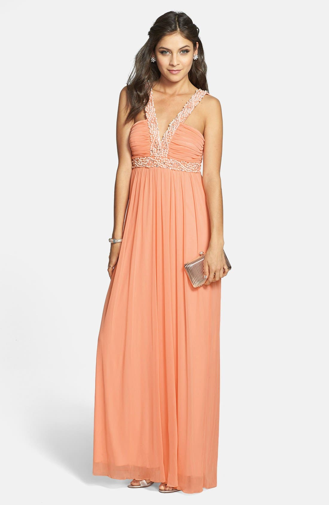 Main Image - Way-In Embellished V-Neck Gown (Juniors) (Online Only)