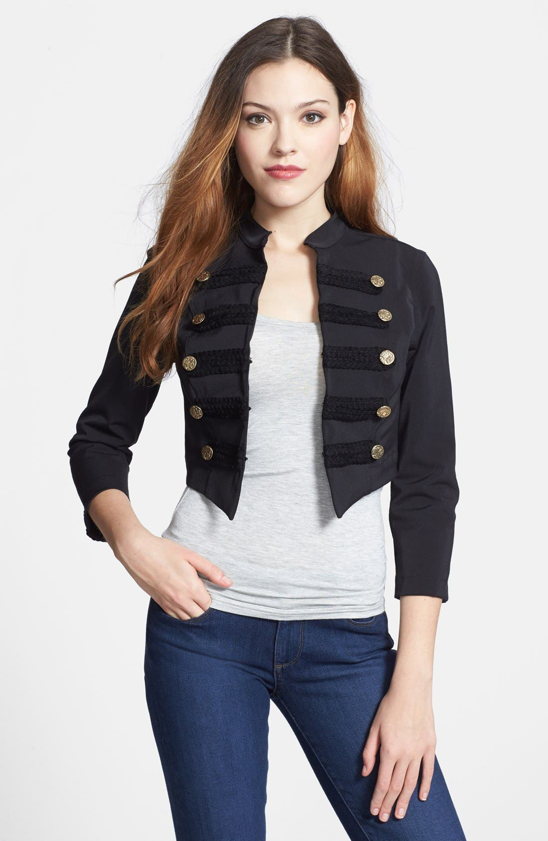 Alternate Image 1 Selected - Nikki Rich Crop Military Jacket
