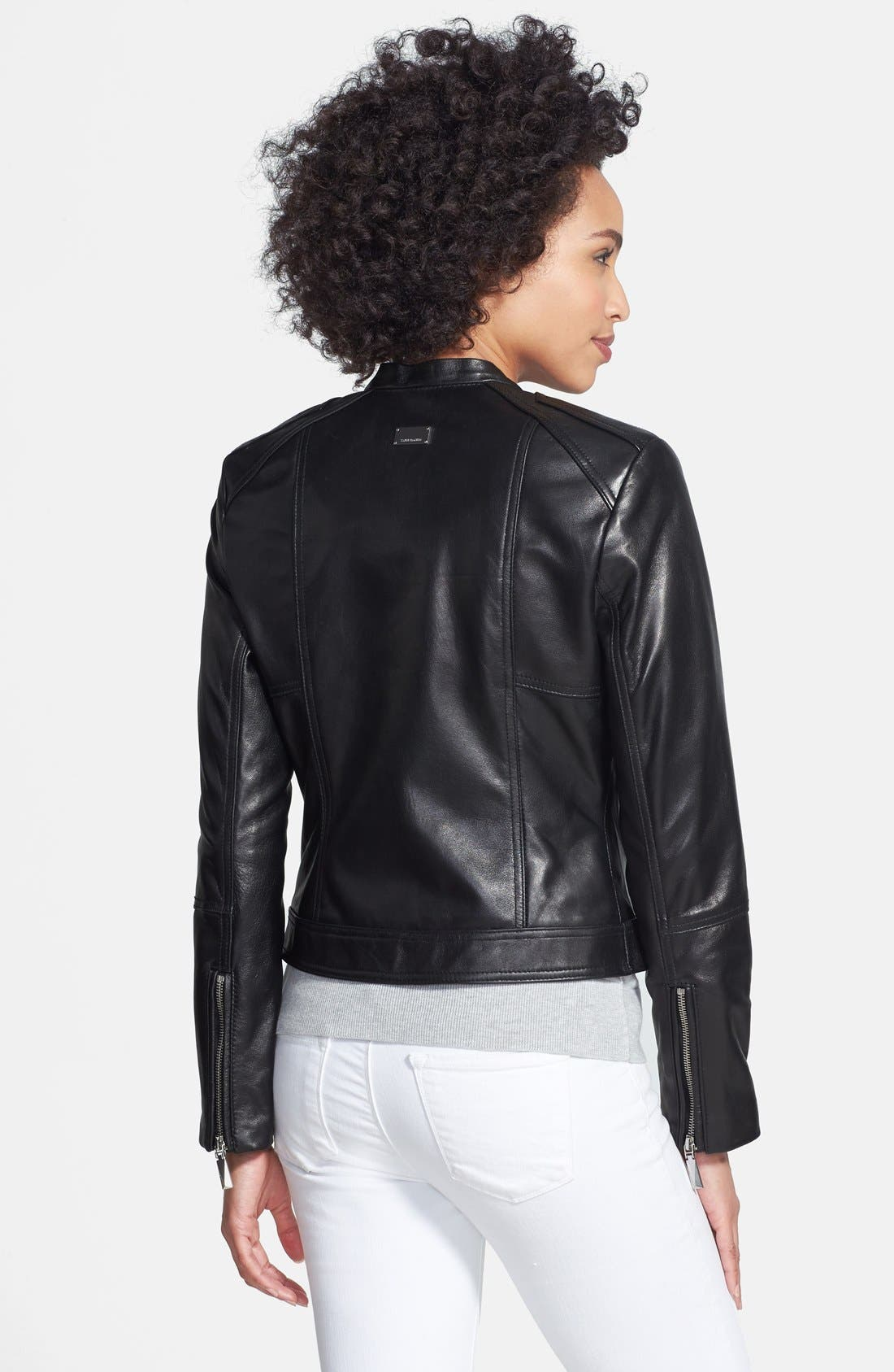 Alternate Image 2  - Vince Camuto Collarless Leather Jacket