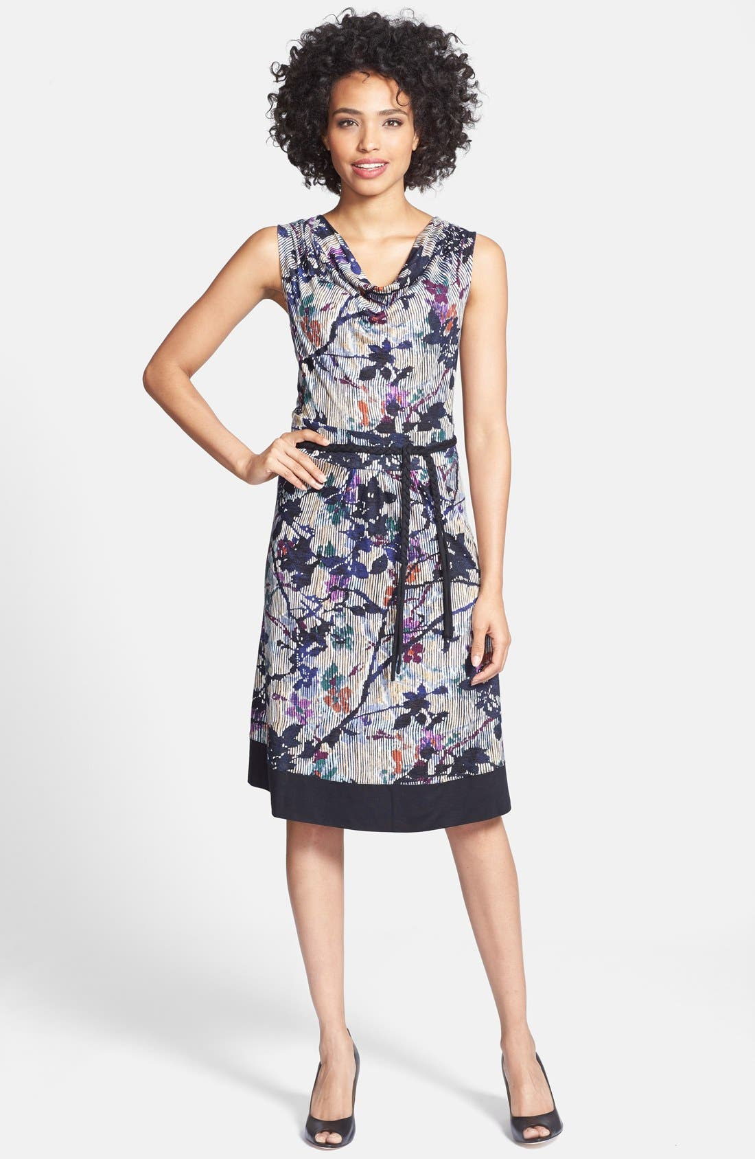 Main Image - NIC+ZOE 'Floral Vines' Belted Jersey Dress
