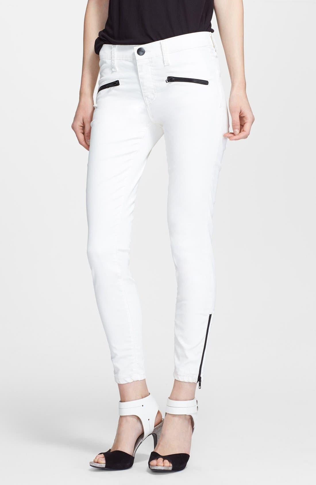 Alternate Image 1 Selected - Current/Elliott 'The Soho Zip Stiletto' Skinny Jeans (Sugar Coated)