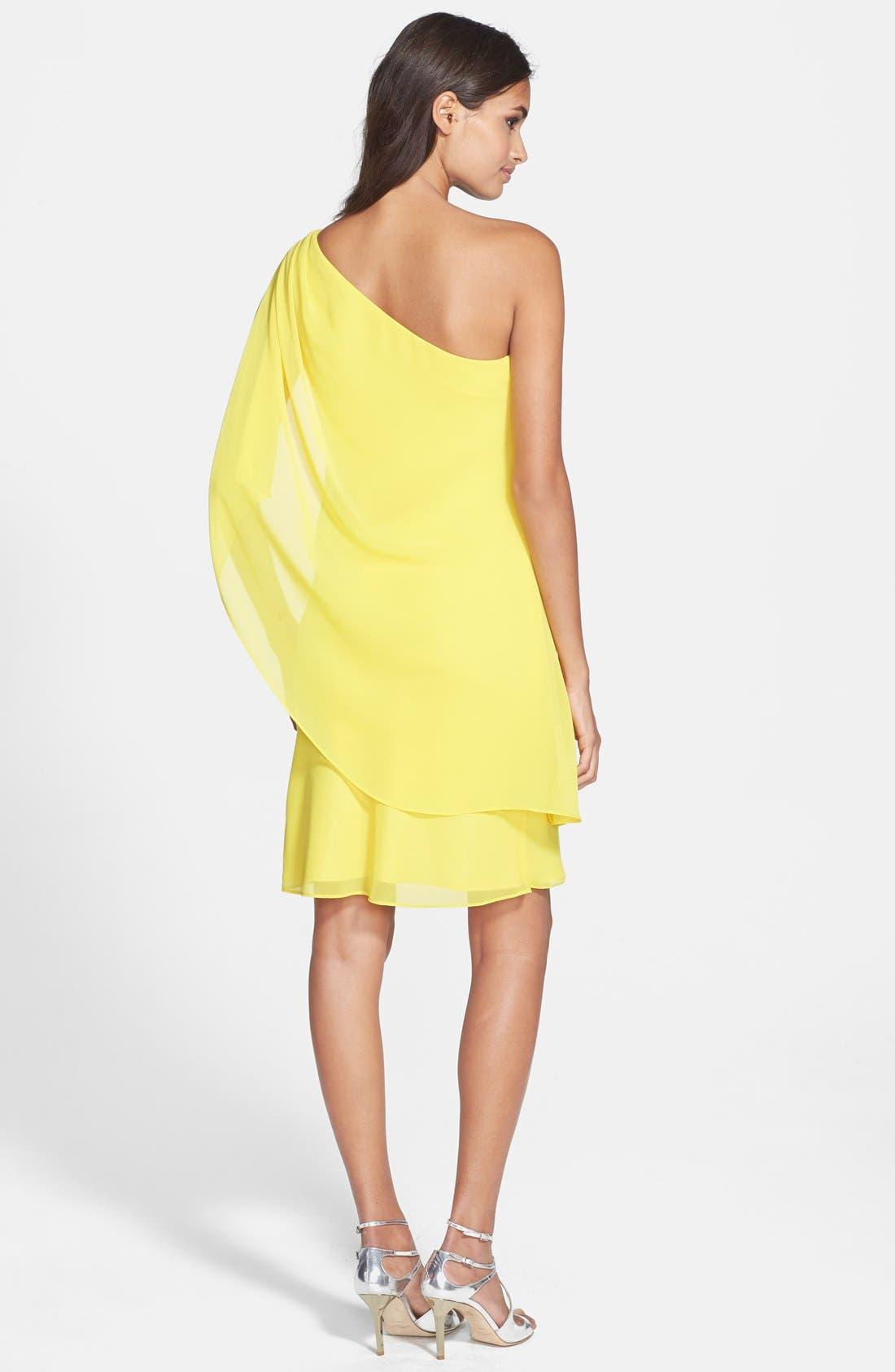 Alternate Image 2  - Laundry by Shelli Segal One-Shoulder Drape Chiffon Dress