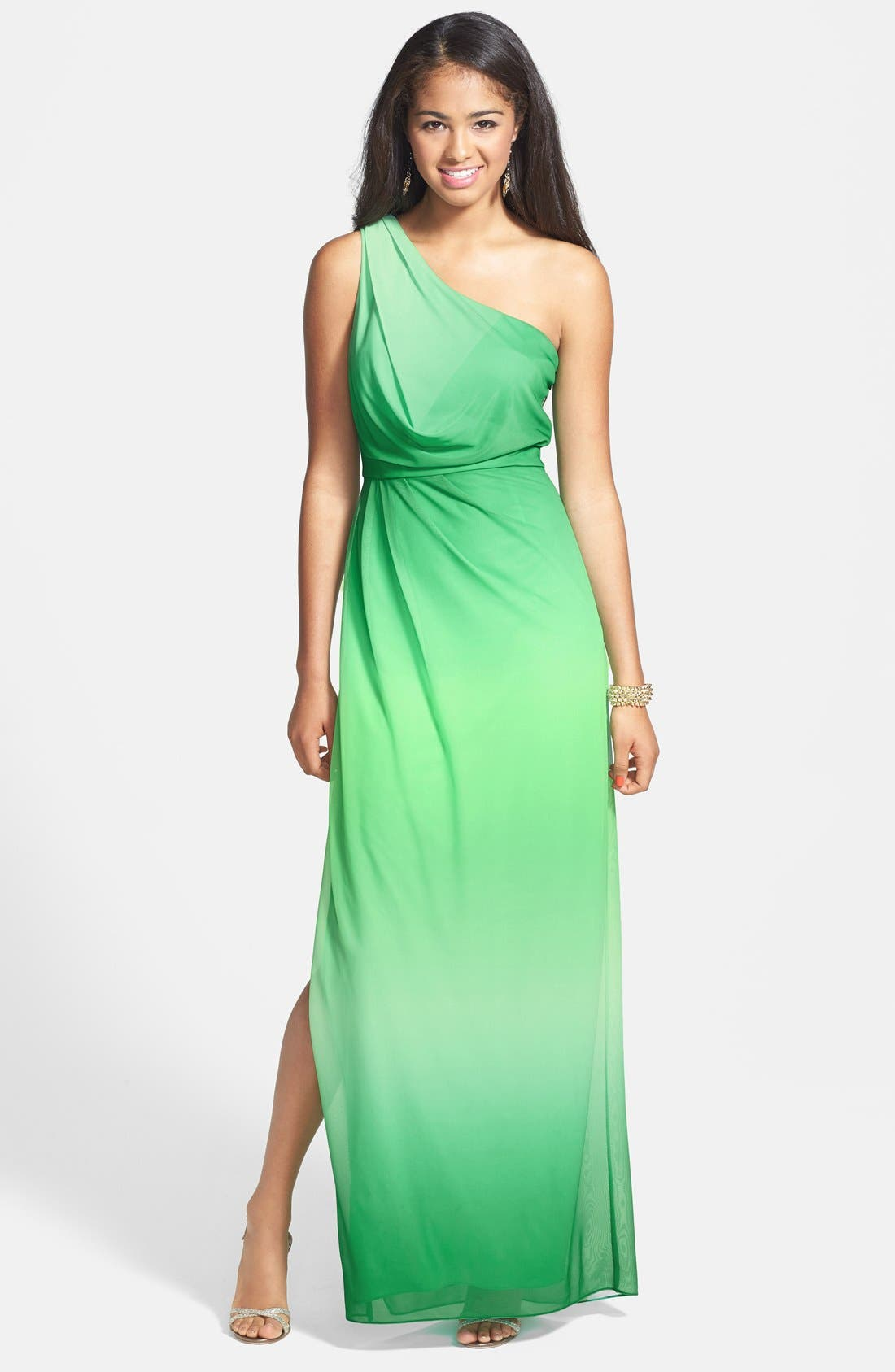 Main Image - Hailey by Adrianna Papell One-Shoulder Ombré Blouson Jersey Gown