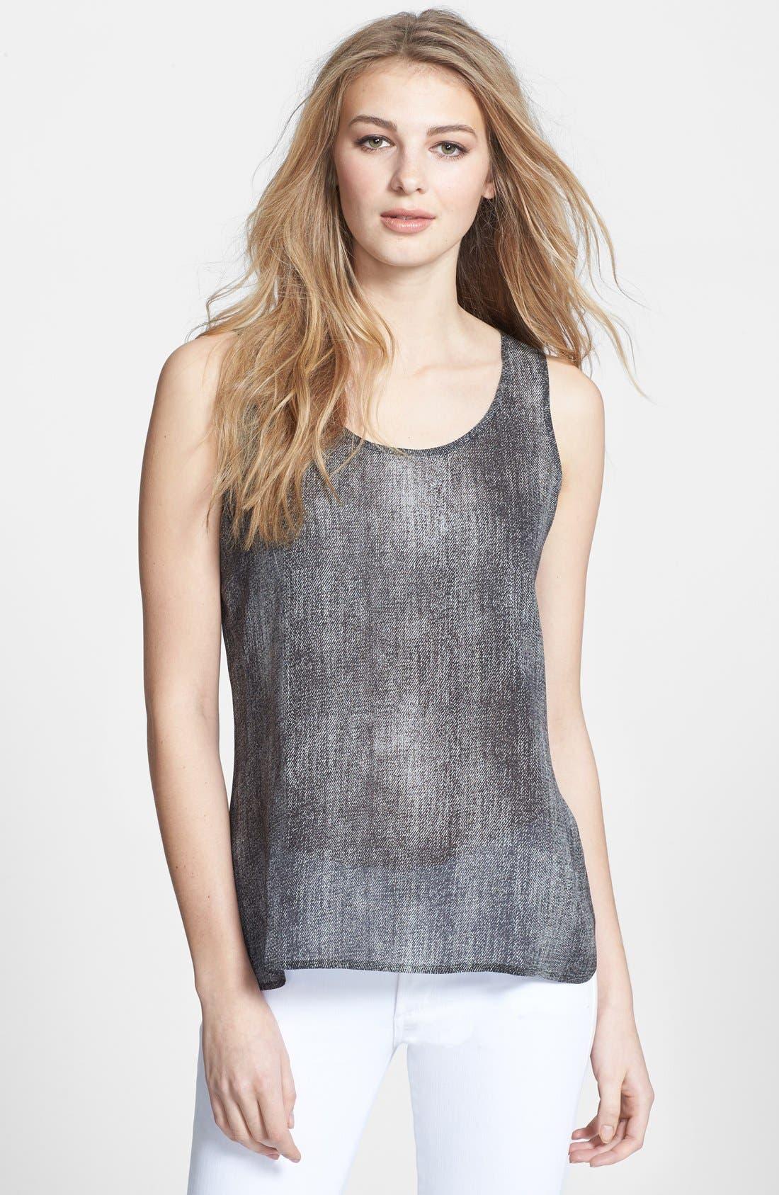 Main Image - Eileen Fisher Print Scoop Neck Silk Shell (Regular & Petite)