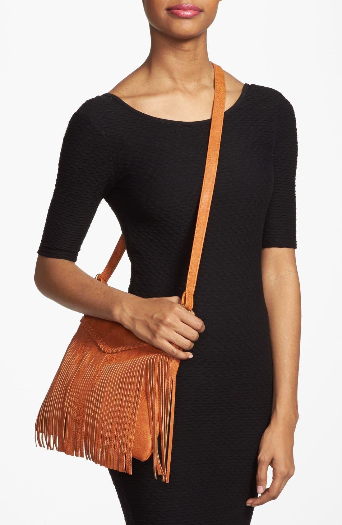Alternate Image 2  - Lulu Fringe Small Convertible Crossbody Bag (Juniors)