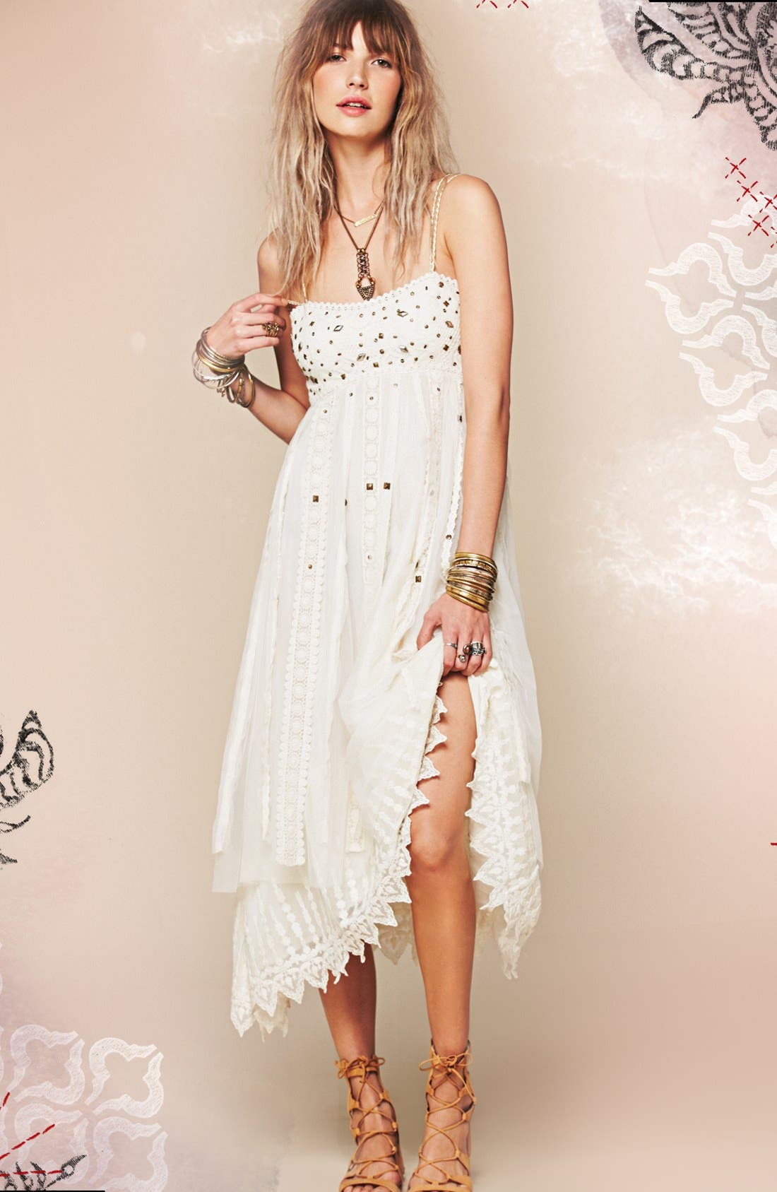 Alternate Image 4  - Free People Stud Lace Trim Midi Dress