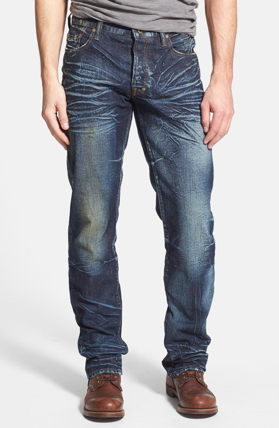 Alternate Image 1 Selected - PRPS 'Barracuda' Distressed Straight Leg Jeans (Winged Bat)