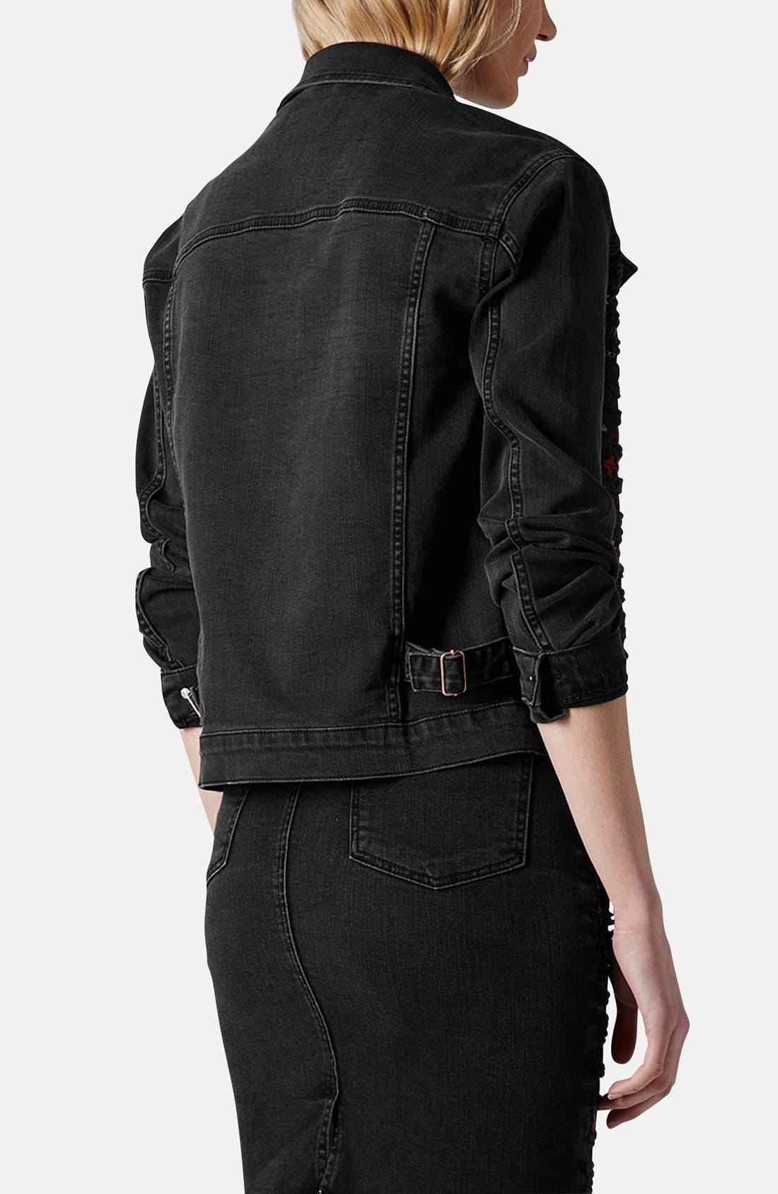 Alternate Image 2  - Topshop Moto Embroidered Denim Jacket
