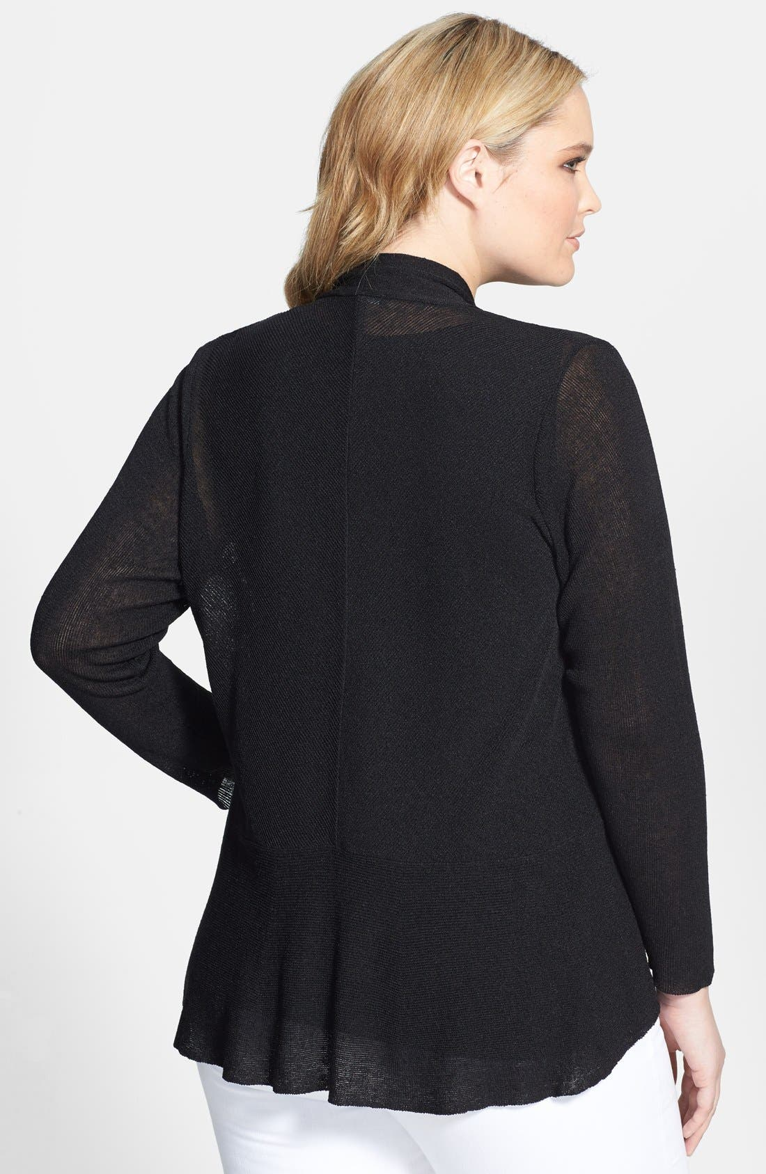 Alternate Image 2  - Eileen Fisher Straight Cut Linen Blend Cardigan (Plus Size)