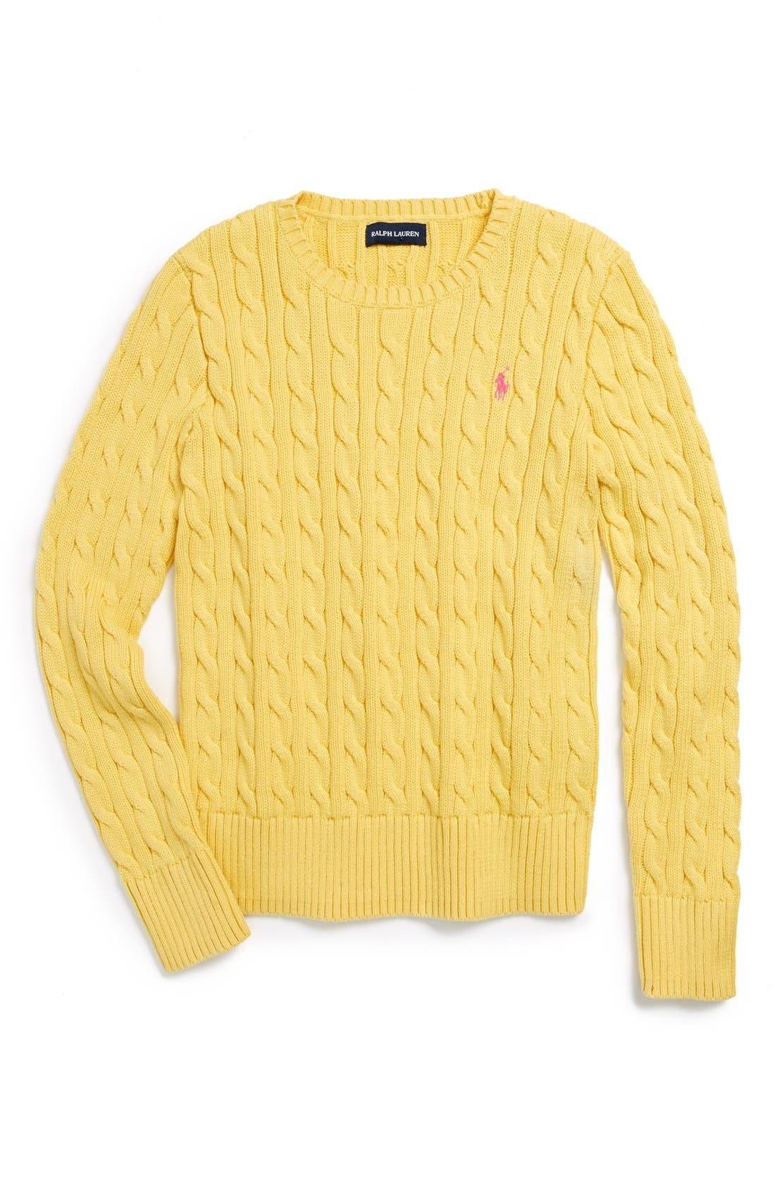 Main Image - Ralph Lauren Cotton Cable Knit Sweater (Little Girls)