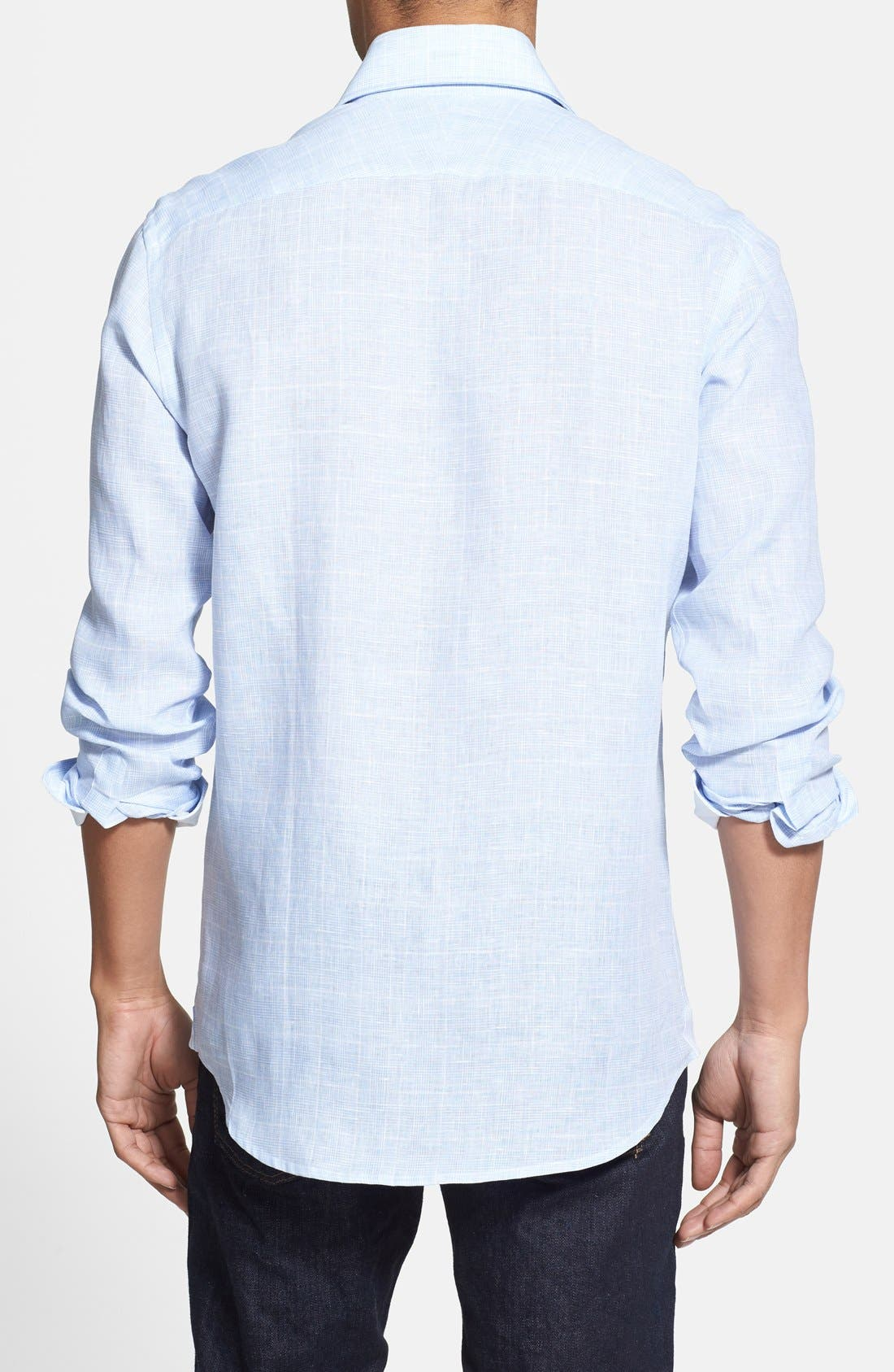 Alternate Image 2  - Kent and Curwen Trim Fit Prince of Wales Linen Sport Shirt