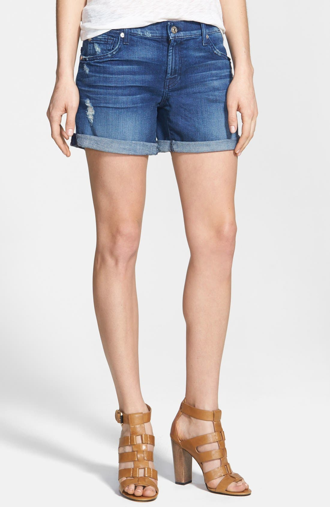 Alternate Image 1 Selected - 7 For All Mankind® Distressed Denim Shorts