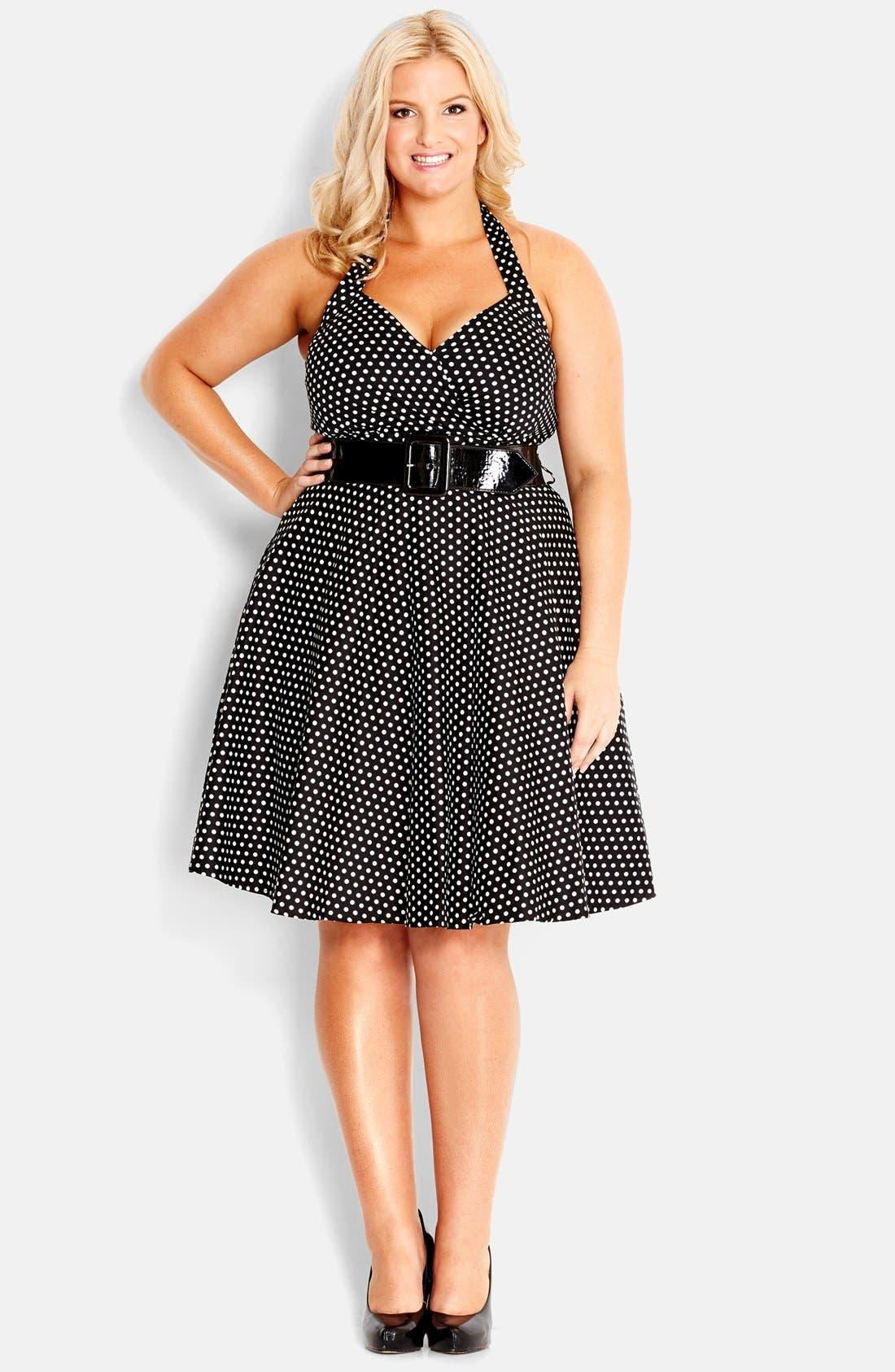 Main Image - City Chic 'Spot Siren' Belted Fit & Flare Halter Dress (Plus Size)