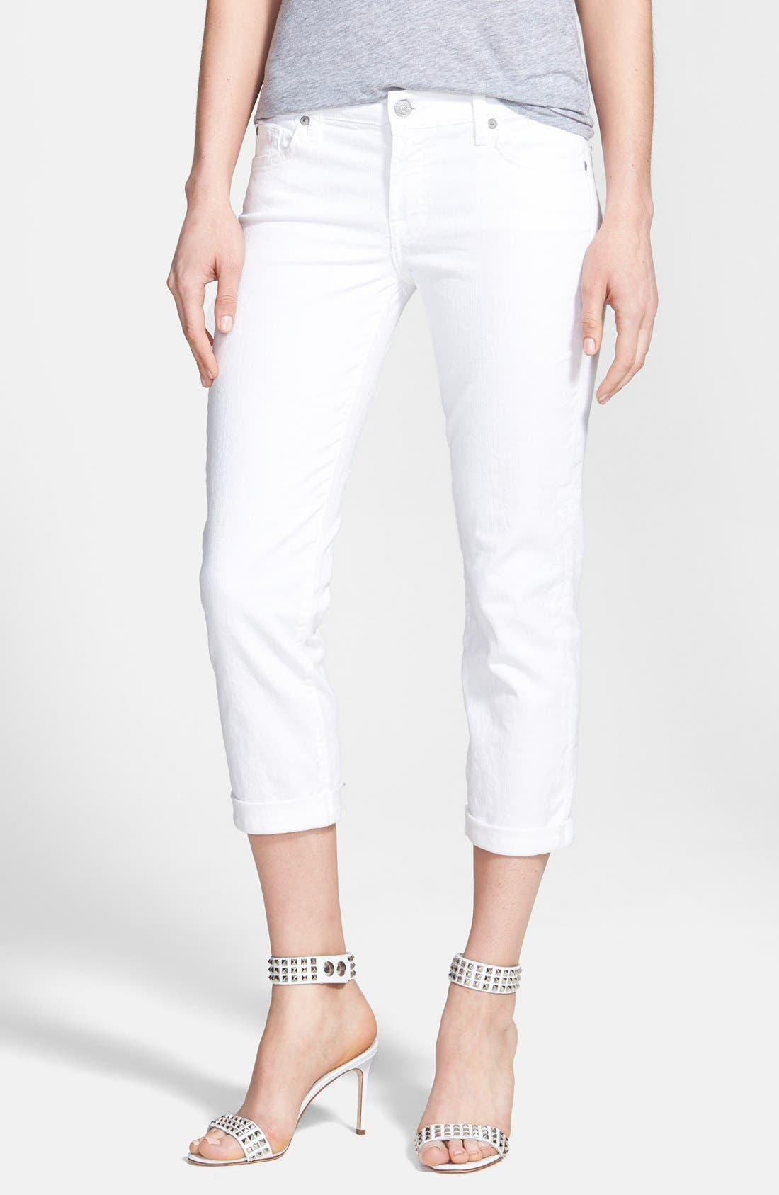 Main Image - 7 For All Mankind® Crop Roll-Hem Skinny Jeans (Clean White)