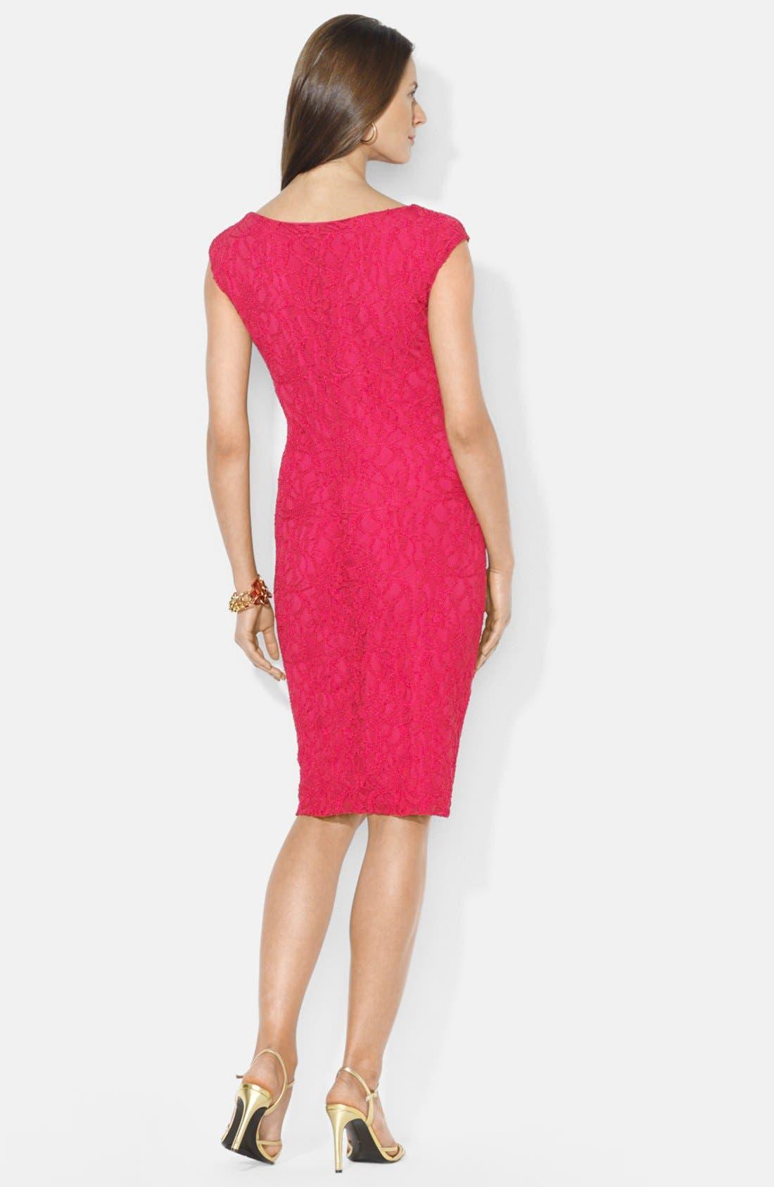 Alternate Image 2  - Lauren Ralph Lauren Cowl Neck Stretch Lace Sheath Dress (Petite)